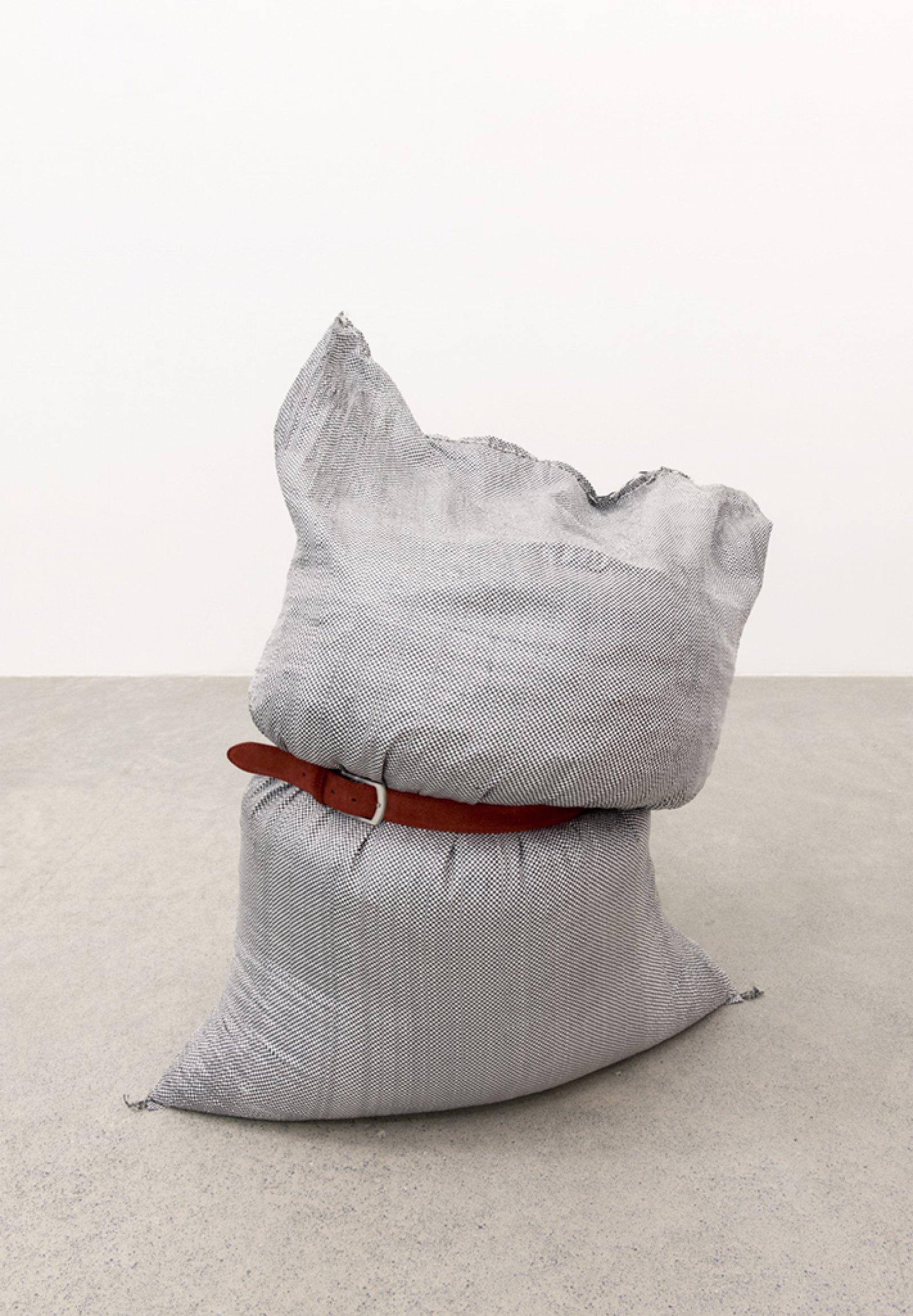 Brian Jungen,Fans (detail), 2013, woven plastic bags, grain, belts, dimensions variable