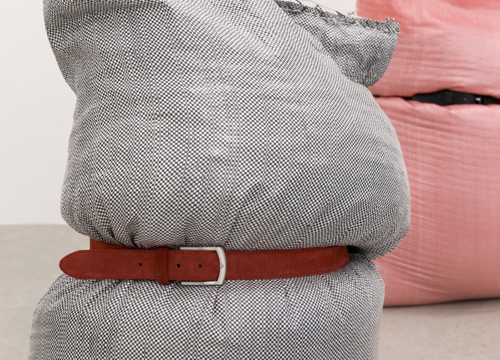 Brian Jungen,Fans(detail), 2013, woven plastic bags, grain, belts, dimensions variable