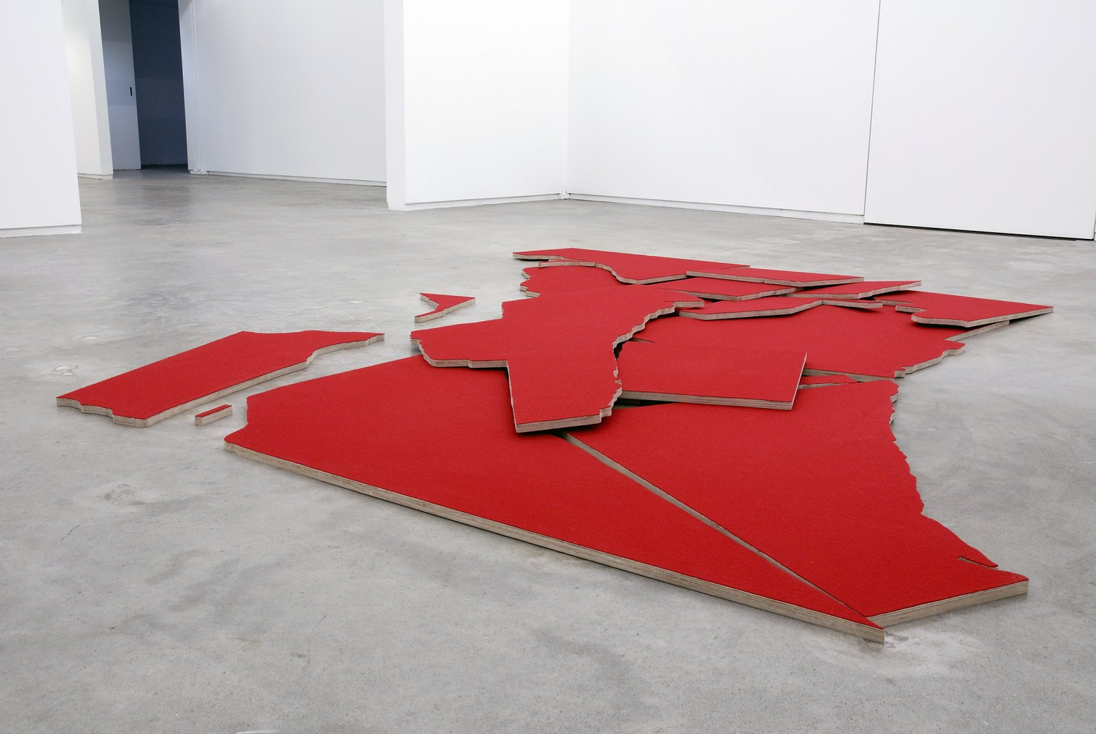 Brian Jungen, Greater Vancouver, 2007, 18 baltic plywood cutouts, wool fabric, 126 x 132 x 3 in. (320 x 335 x 8 cm), installation dimensions variable   by Brian Jungen