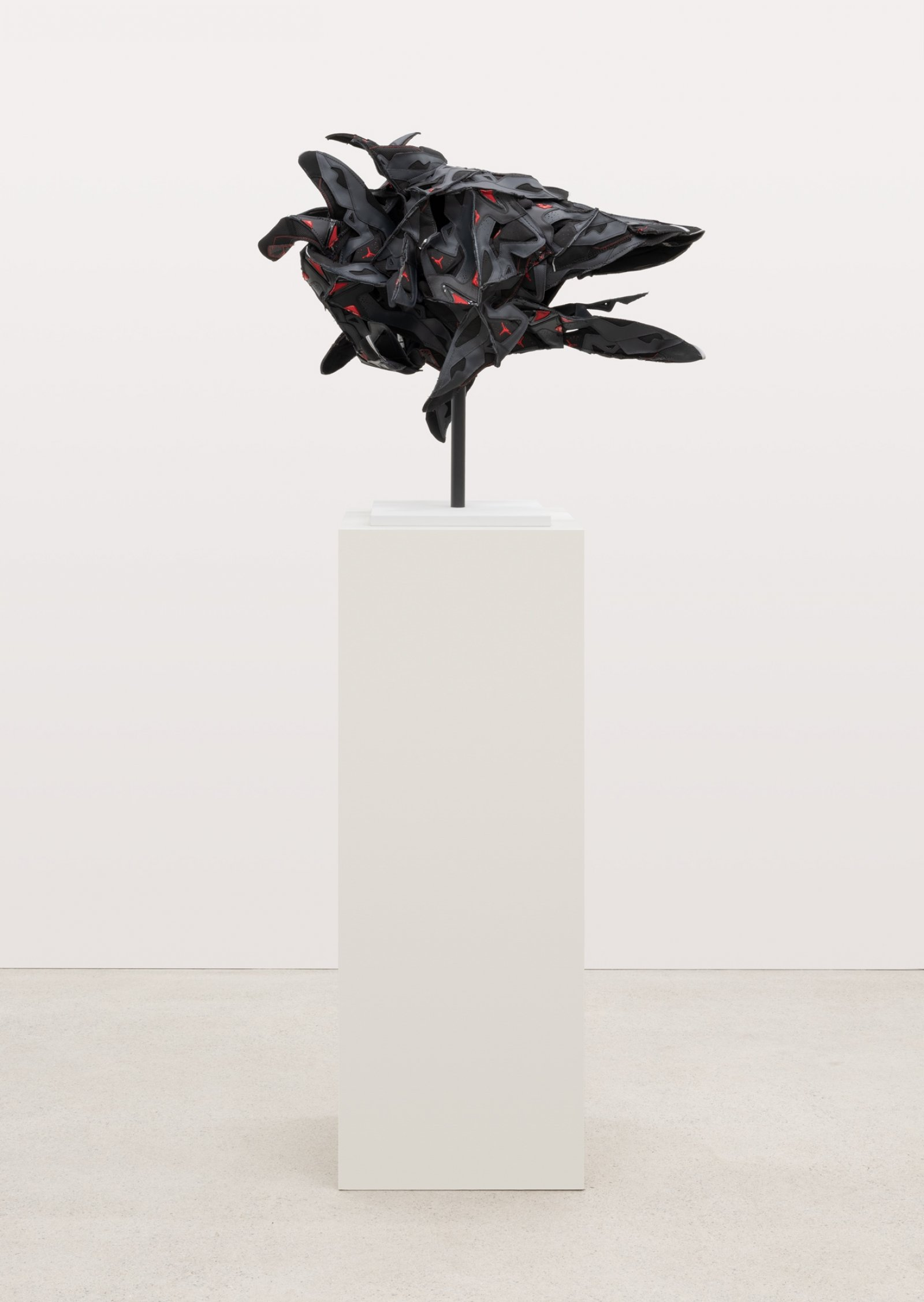 Brian Jungen, Intimidation Mask, 2018, nike air jordans, copper, 27 x 36 x 19 in. (69 x 91 x 48 cm)