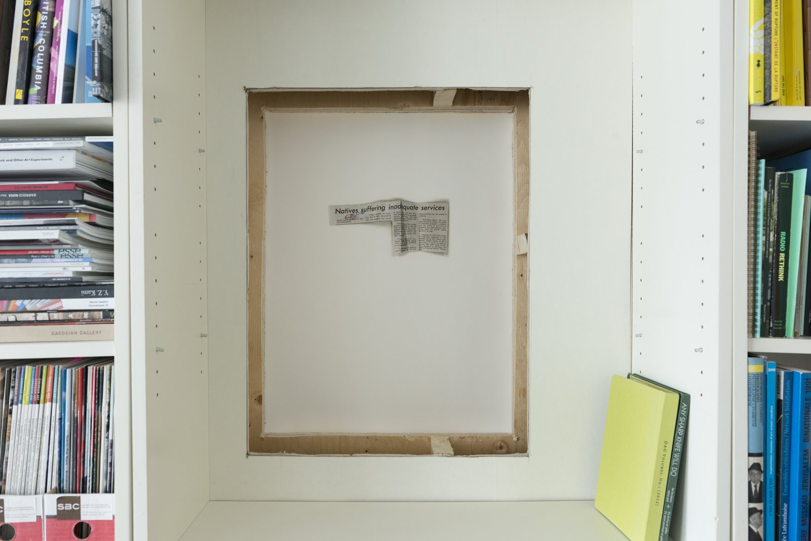 Brian Jungen,Natives Suffering, 2017,six plate photo etching on revere paper, double sided, 28 x 22 in. (72 x 56 cm). Installation view,Wood Land School: Kahatènhston tsi na'tetiátere ne Iotohrkó:wa tánon Iotohrha, Drawing a Line from Januaryto December, Wood Land School, Montreal, 2017