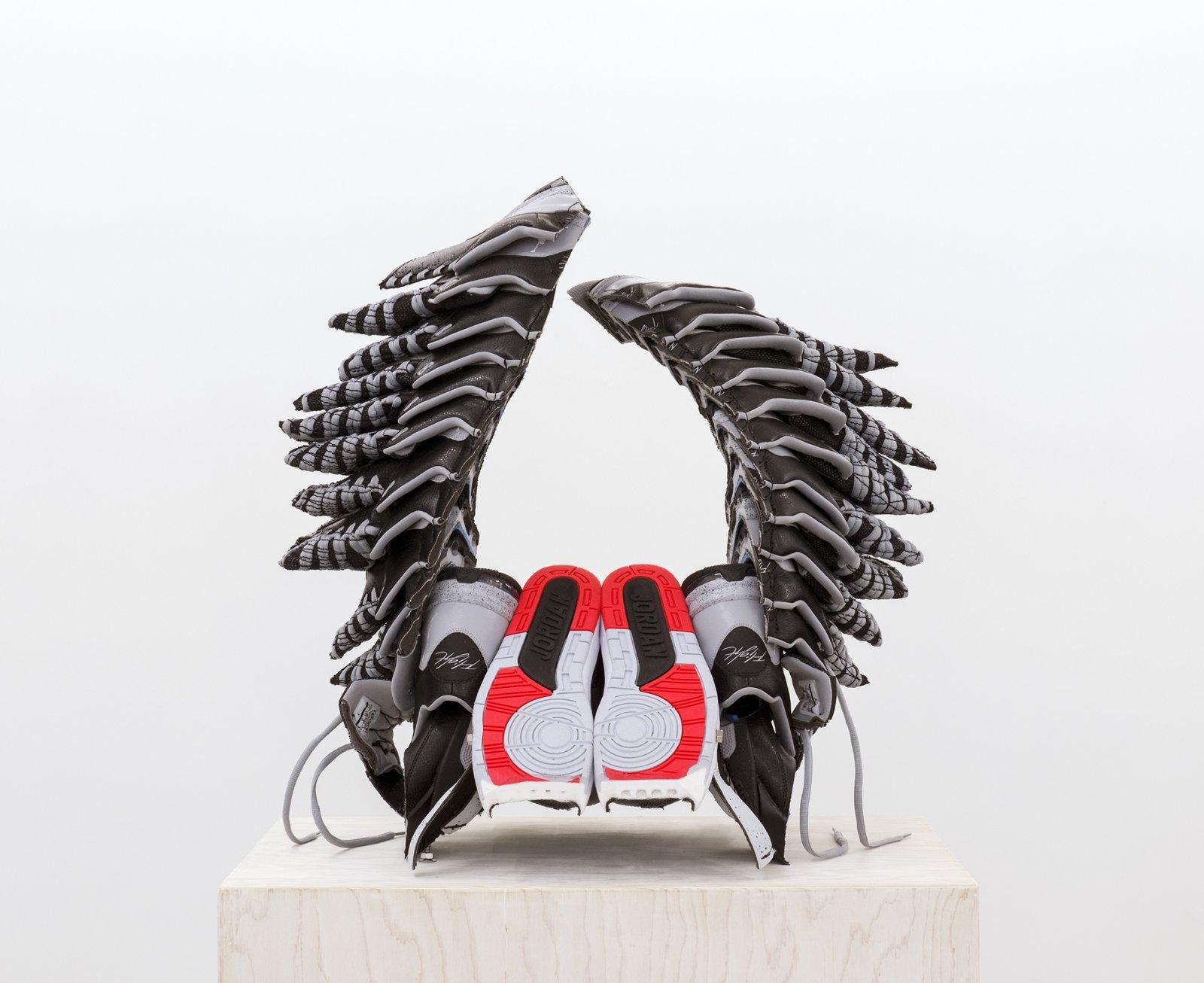 Brian Jungen,King Capra(detail), 2015/2016,Nike Air Jordans, painted fir plywood, stainless steel, 94 x 17 x 25 in. (239 x 43 x 64 cm)