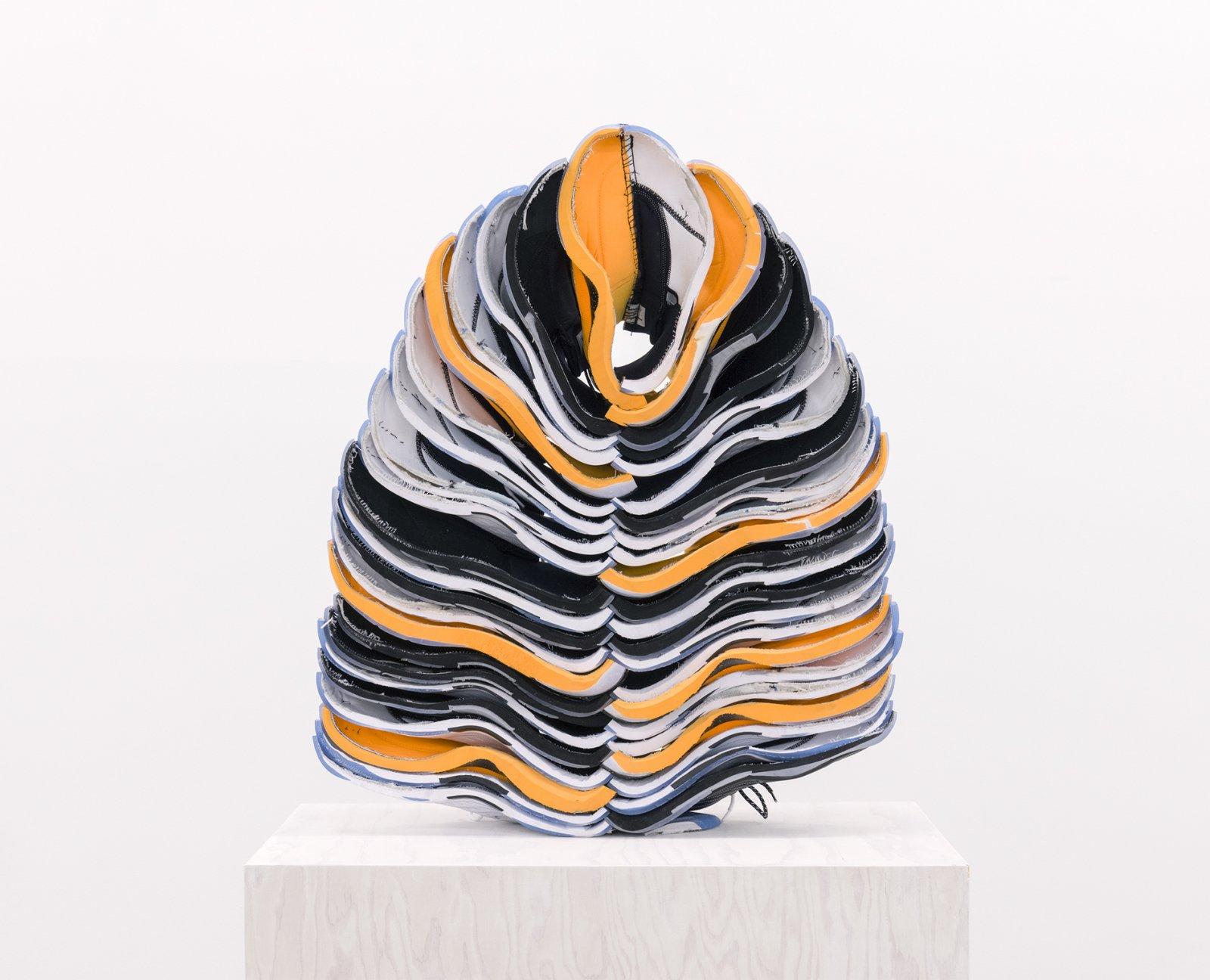 Brian Jungen, Lay Down Tender Fire (detail), 2015–2016, nike air jordans, painted fir plywood, stainless steel, 100 x 17 x 24 in. (254 x 43 x 61 cm) by Brian Jungen
