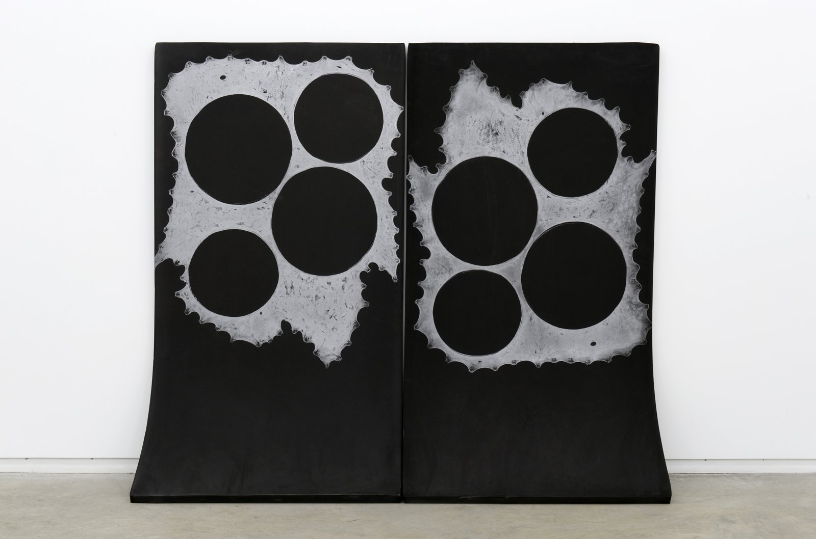 Brian Jungen,Me and My Brother, 2010–2011, foam, silver relief ink, 72 x 83 x 20 in. (183 x 207 x 51 cm)