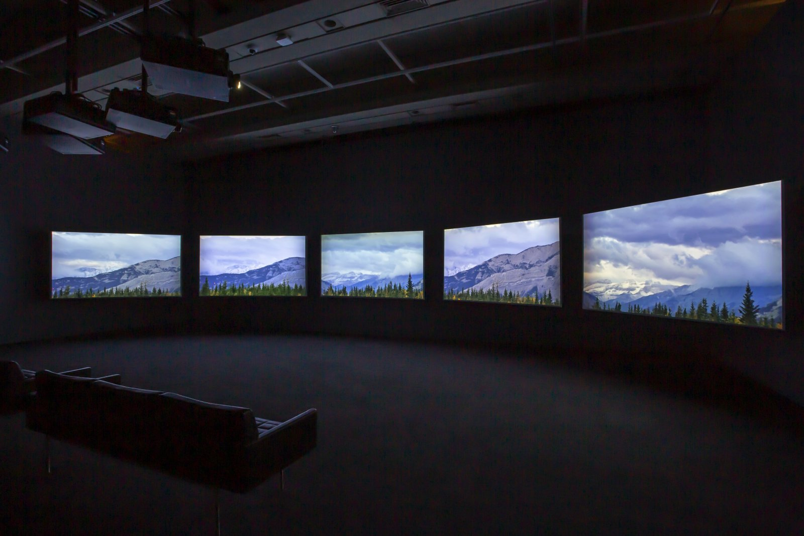 Brian Jungen and Duane Linklater, Modest Livelihood (Director's Cut), 2019, 5 channel video, colour, silent, 46 minutes, 34 seconds. Installation view, Friendship Centre, Art Gallery of Ontario, Toronto, Canada, 2019