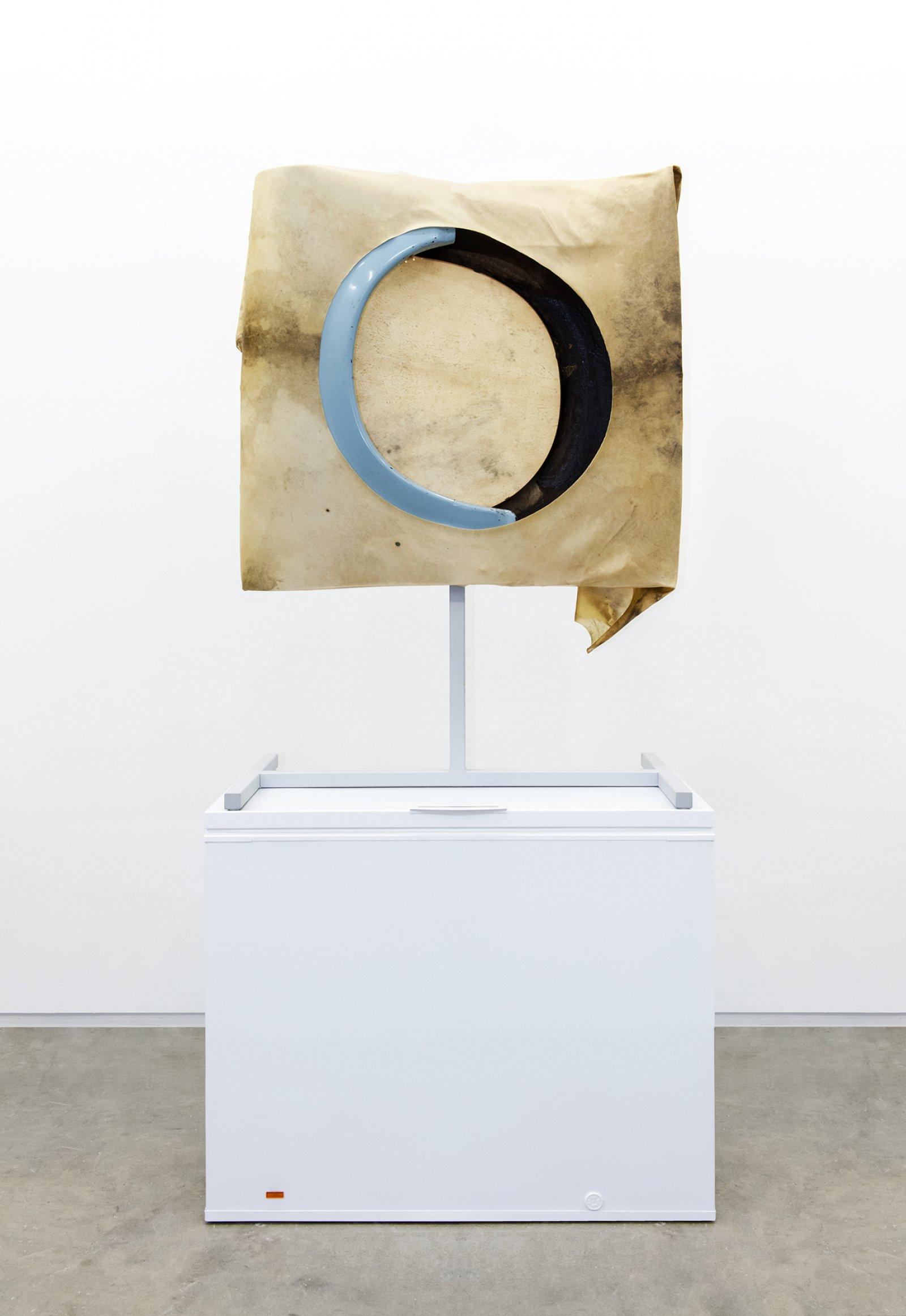 Brian Jungen,Moon, 2013, steel, deer hide, trabant fenders, freezer, 102 x 51 x 28 in. (258 x 130 x 71 cm)