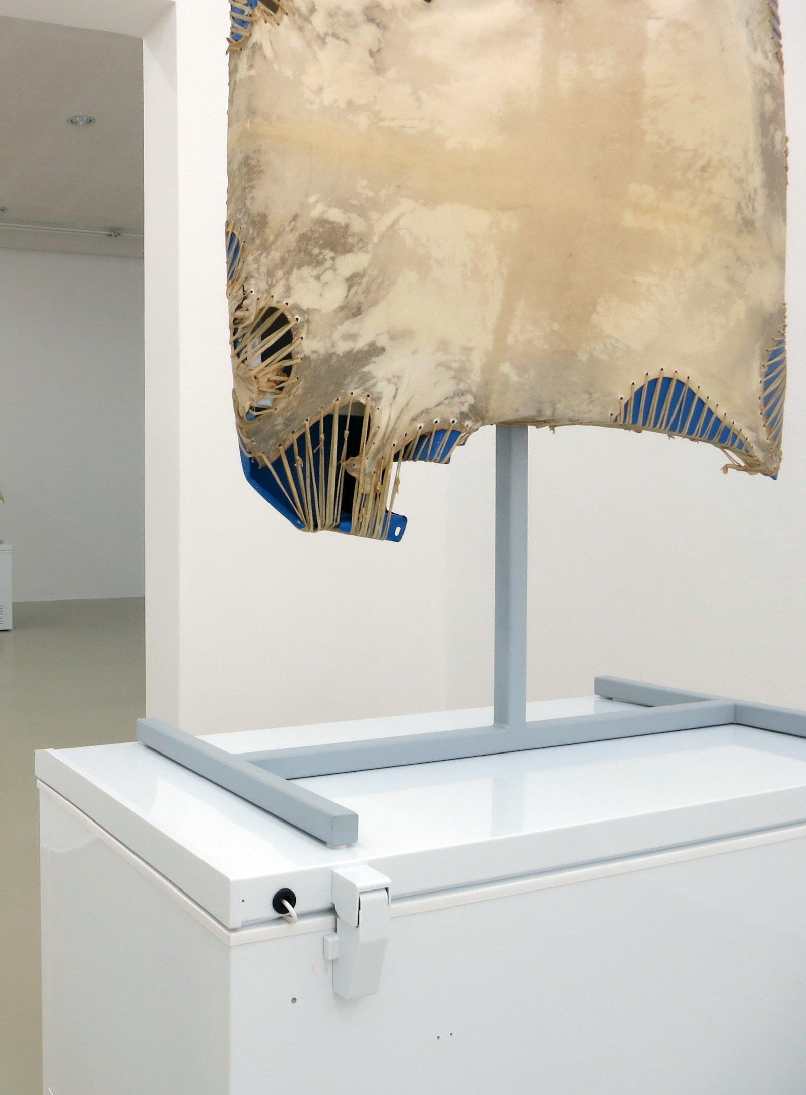Brian Jungen,Mother Tongue(detail), 2013, steel, deer hide, vw fenders, freezer, 100 x 51 x 28 in. (256 x 130 x 71 cm)