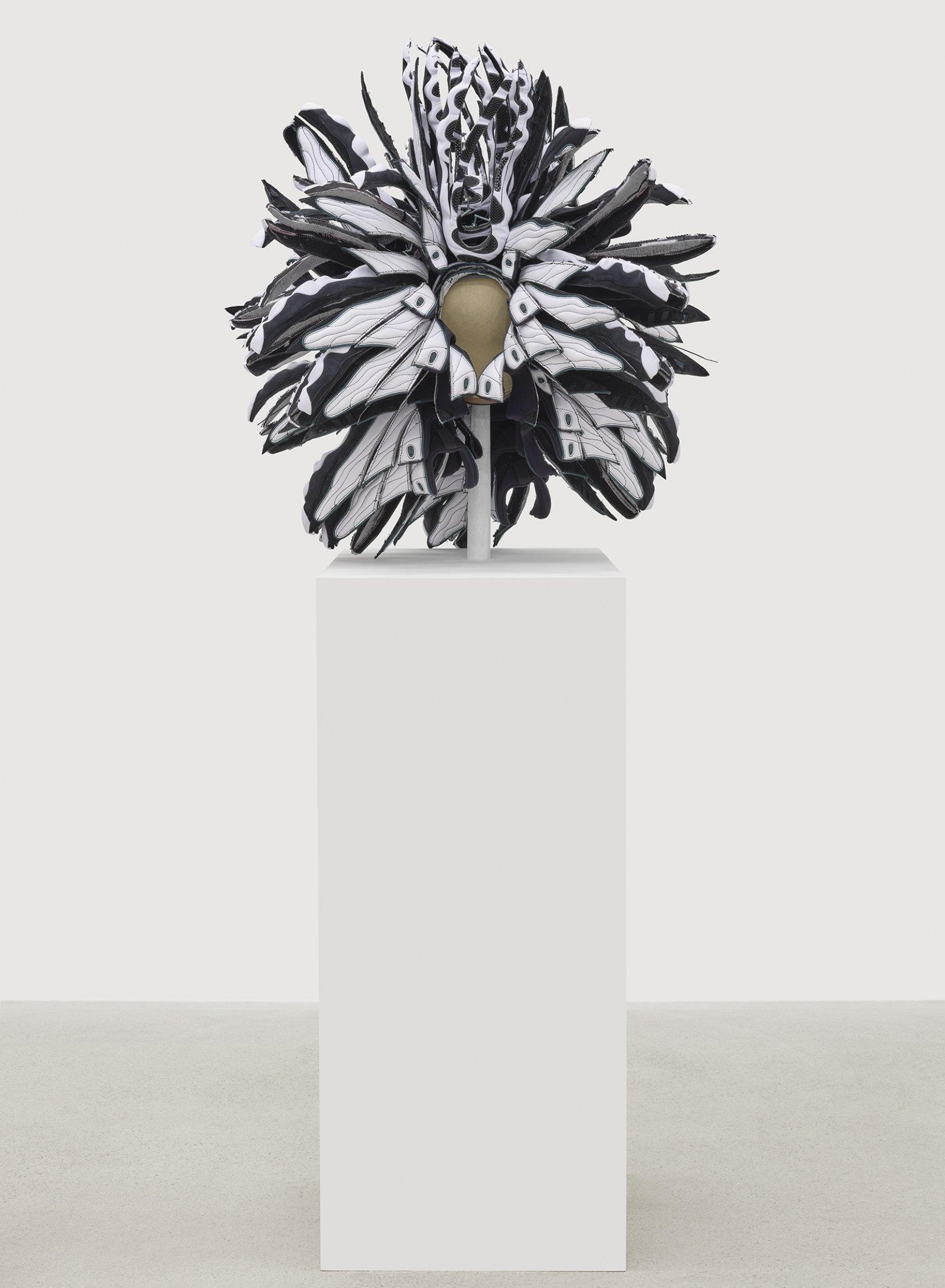 Brian Jungen, Performance bonnet, 2019, nike air jordans, 32 x 31 x 30 in. (81 x 79 x 76 cm)