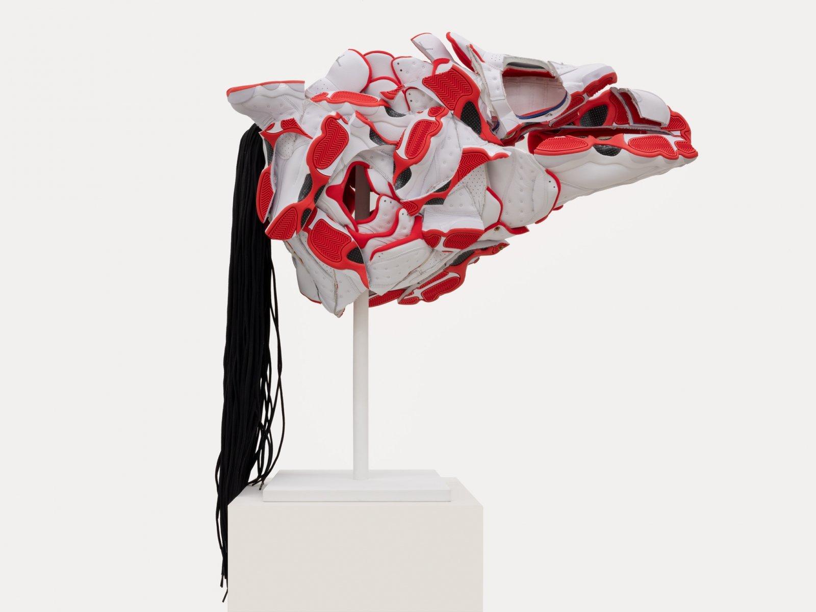 Brian Jungen, Persuasion Mask, 2018, nike air jordans, copper, 43 x 31 x 15 in. (109 x 79 x 38 cm)