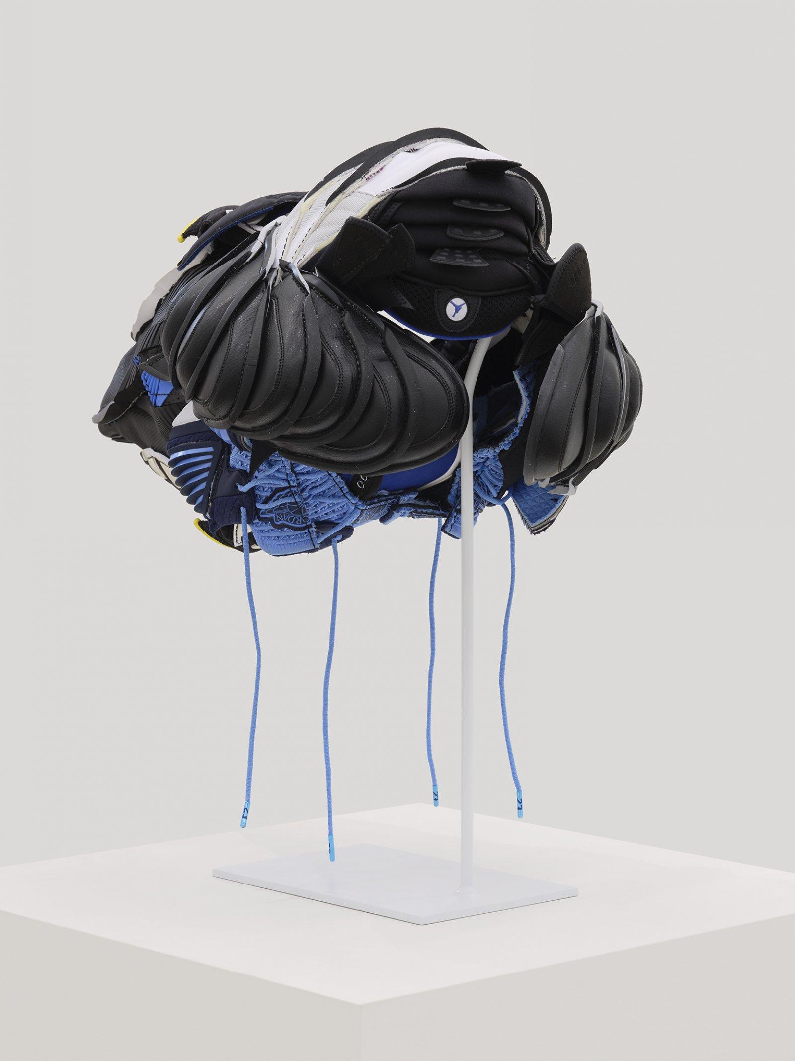 Brian Jungen, Plague Mask 2, 2020, nike air jordans, 12 x 23 x 15 in. (30 x 58 x 38 cm)