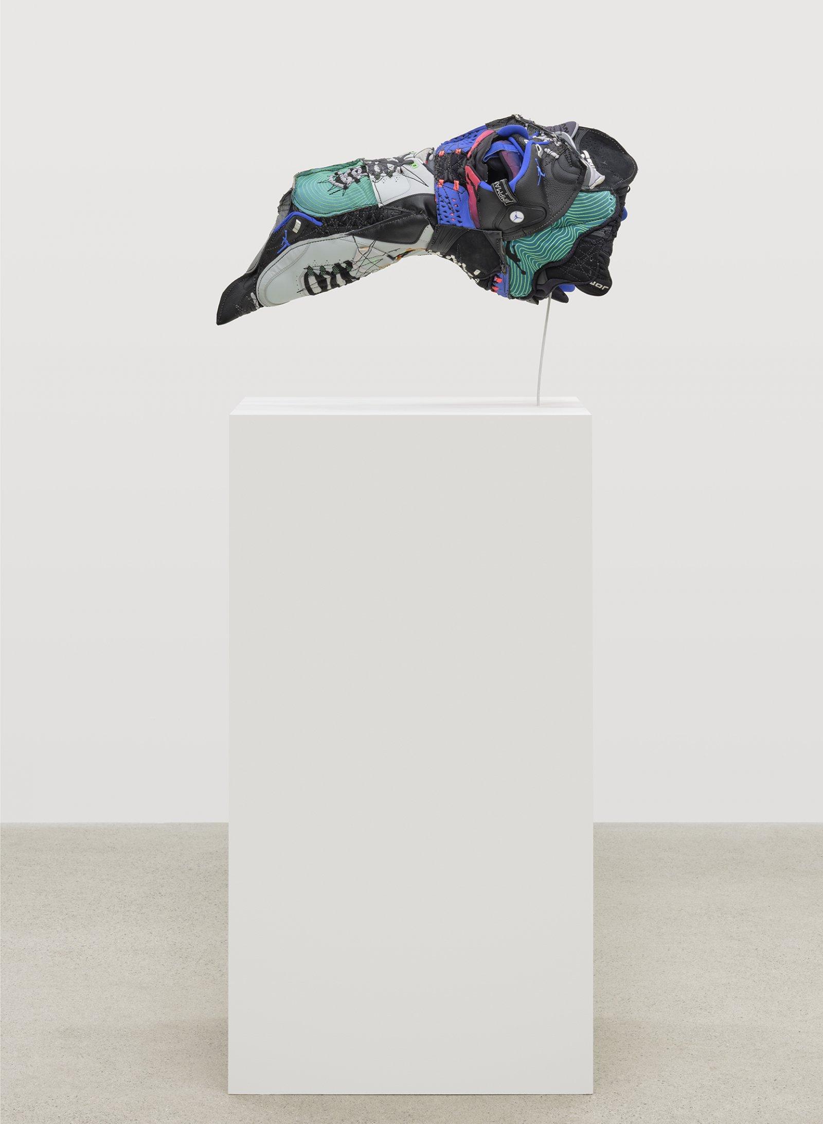 Brian Jungen, Plague Mask, 2020, nike air jordans, 14 x 27 x 16 in. (34 x 69 x 41 cm)