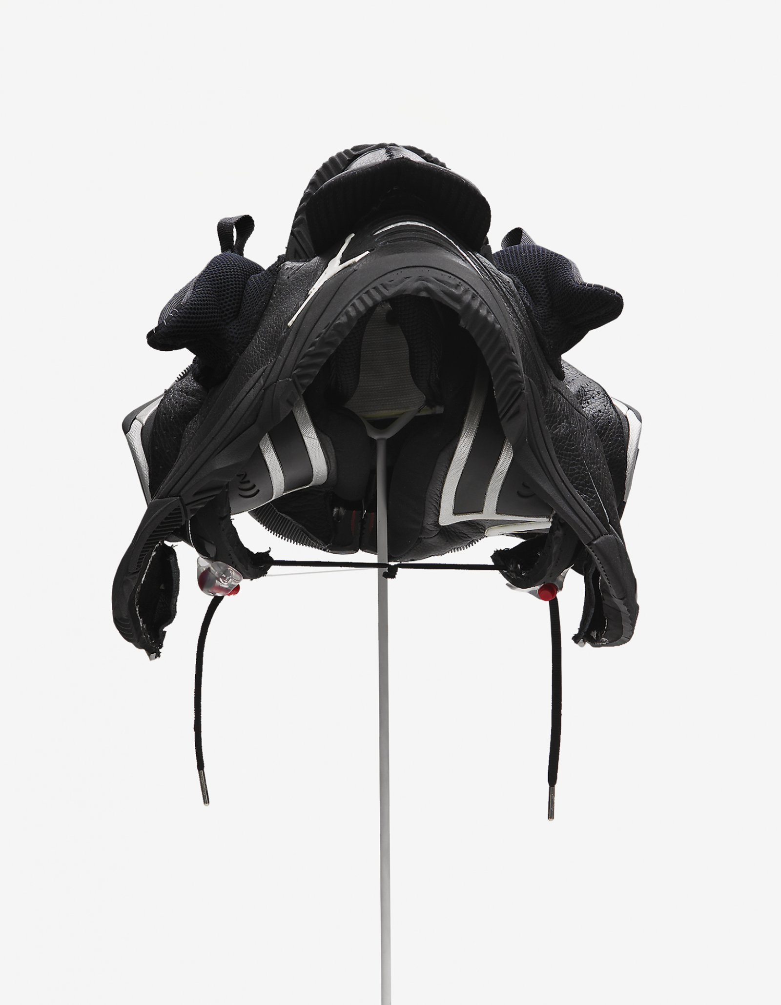 Brian Jungen,Prototype for New Understanding #10, 2001, nike air jordans, human hair, 11 x 14 x 23in. (28 x 36 x 58cm)