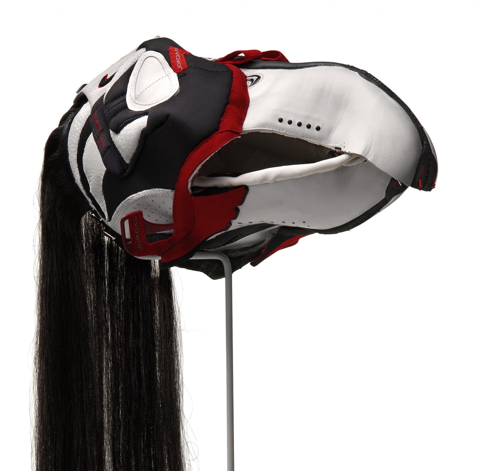 Brian Jungen,Prototype for New Understanding #13(detail), 2003, nike air jordans, human hair, 25 x 9 x 15 in. (64 x 24 x 39 cm)