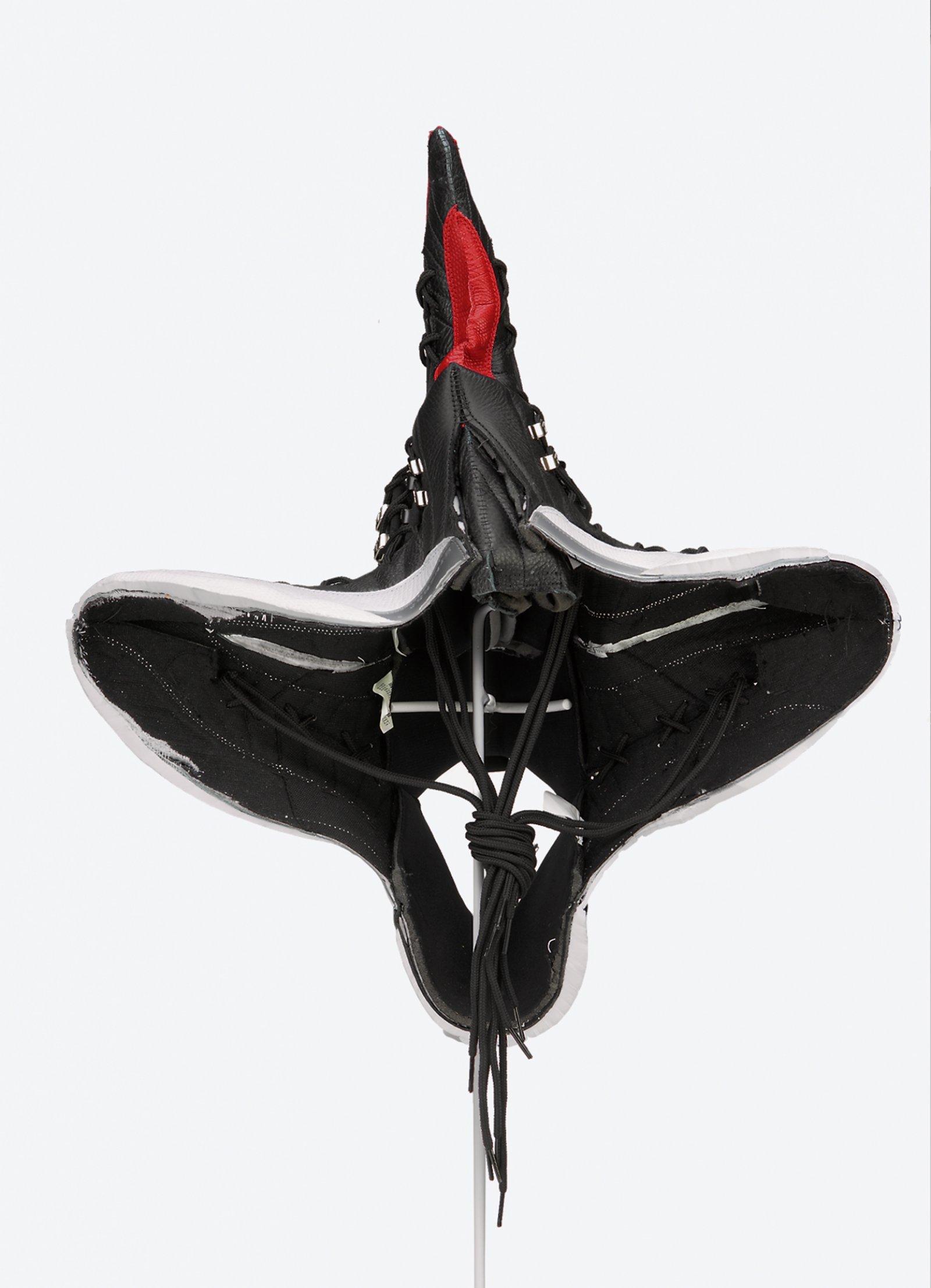 Brian Jungen,Prototype for New Understanding #15, 2003, nike air jordans, human hair, 25 x 19 x 19in. (64 x 49 x 49cm)