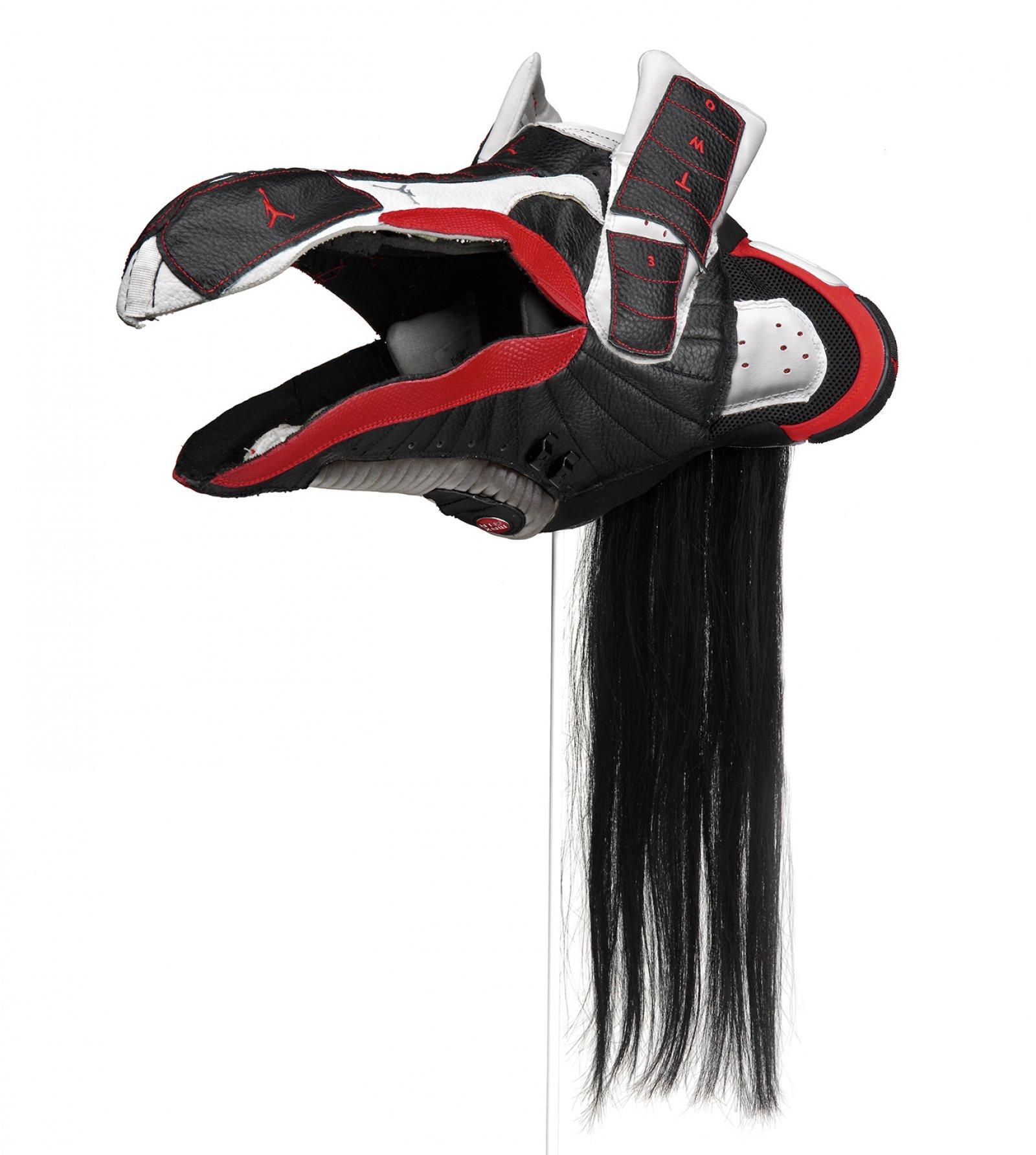 Brian Jungen,Prototype for New Understanding #16, 2004, nike air jordans, human hair, 23 x 12 x 18 in. (57 x 31 x 46 cm)