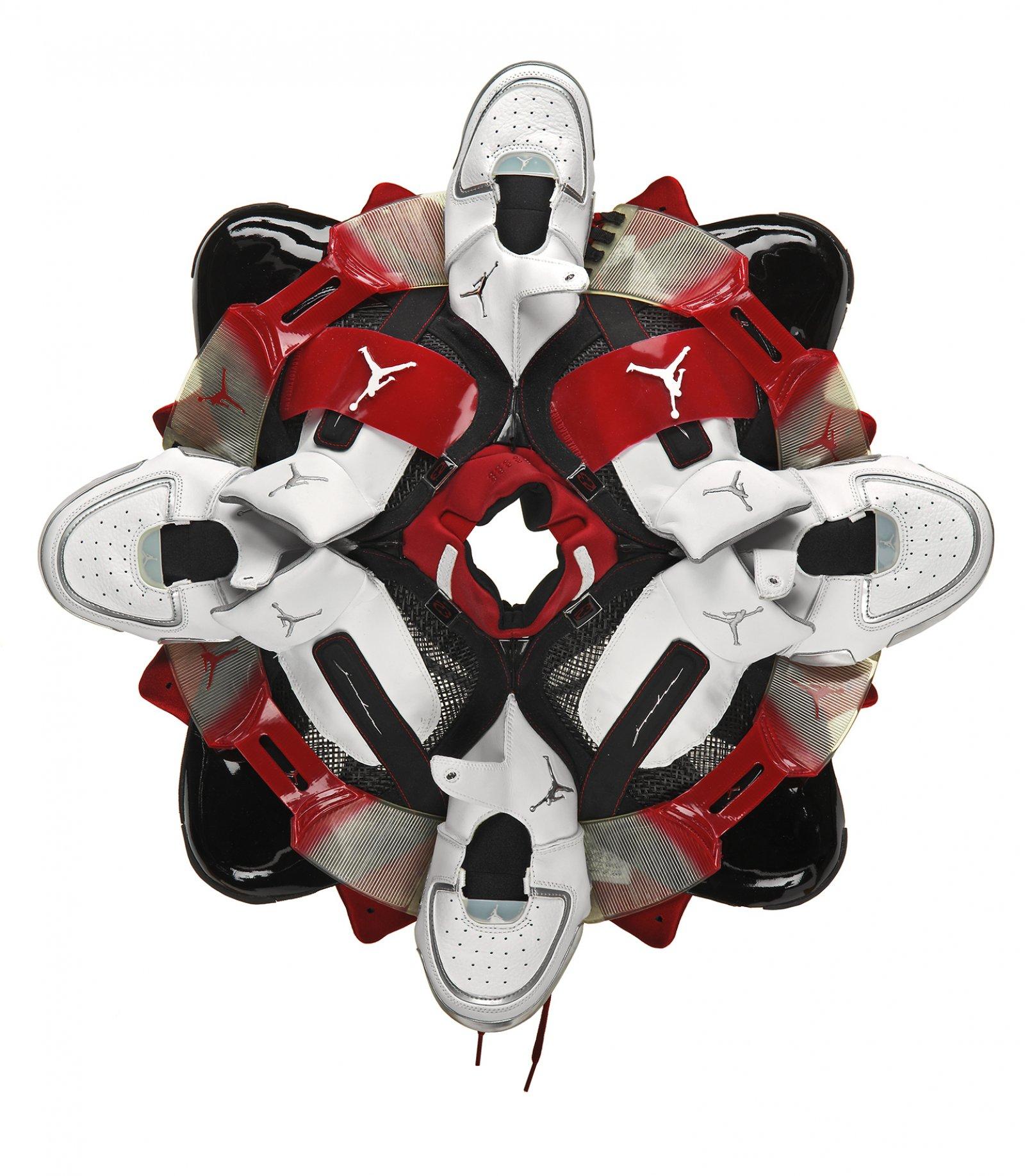 Brian Jungen, Prototype for New Understanding #19, 2004, nike air jordans, 24 x 24 x 8 in. (61 x 61 x 20 cm)