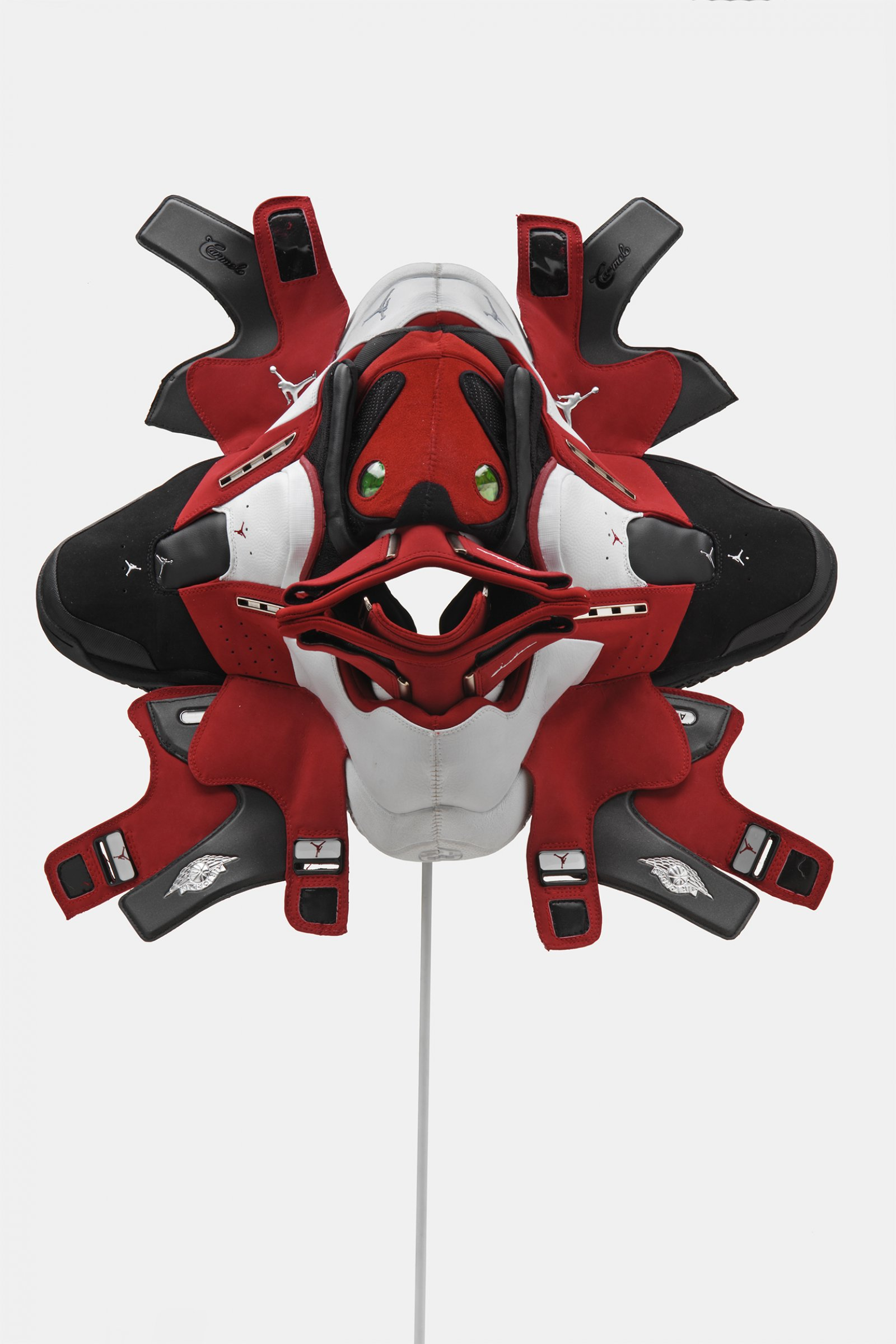 BrianJungen,Prototype for New Understanding #22, 2005, nike air jordans, human hair,19 x 20 x 8 in. (49 x 51 x 21cm)