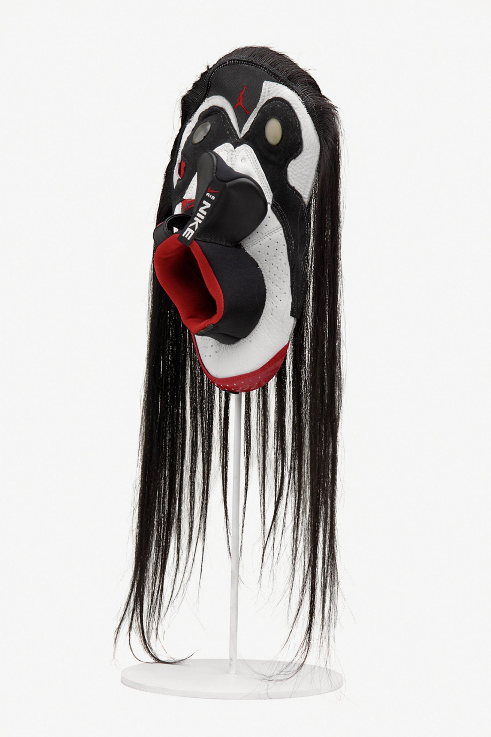 BrianJungen,Prototype for New Understanding #9, 1999, nike air jordans, human hair, 24 x 10 x 5in. (61 x 25 x 13 cm)