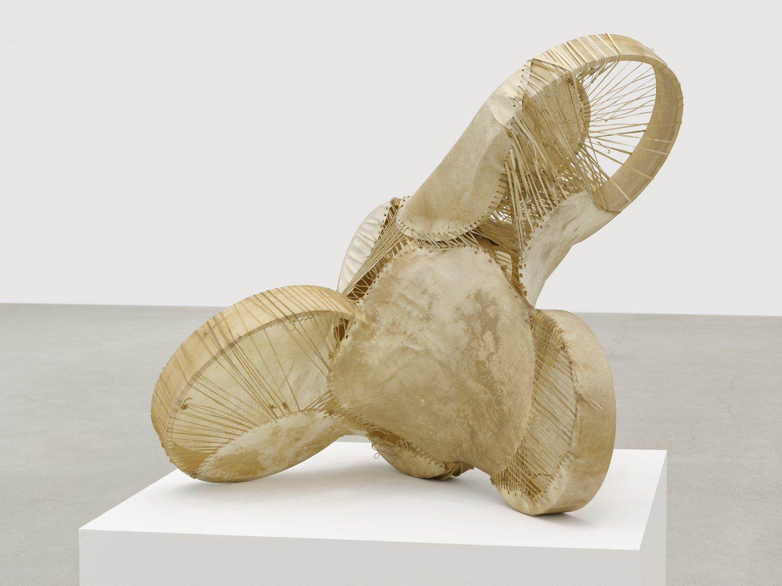 Brian Jungen, Sound Space 1, 2010, drum frames, hides, 24 x 36 x 24 in. (61 x 91 x 61 cm)