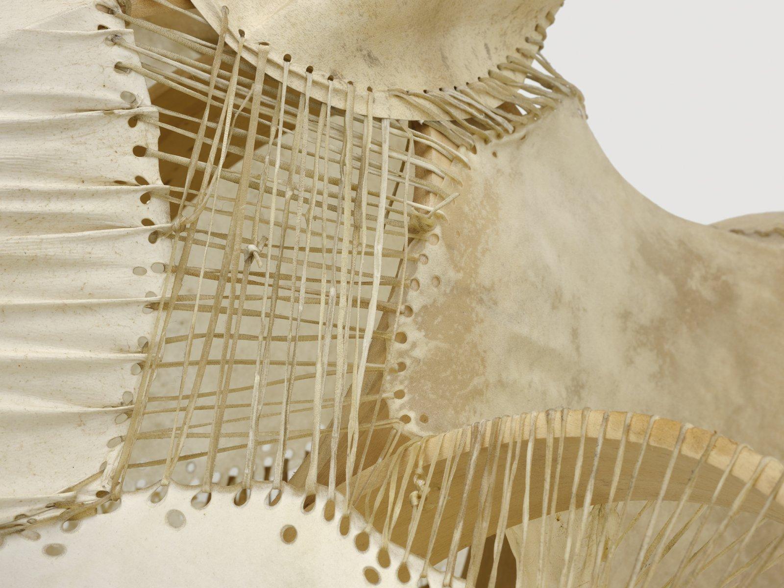 Brian Jungen, Sound Space 1 (detail), 2010, drum frames, hides, 24 x 36 x 24 in. (61 x 91 x 61 cm)