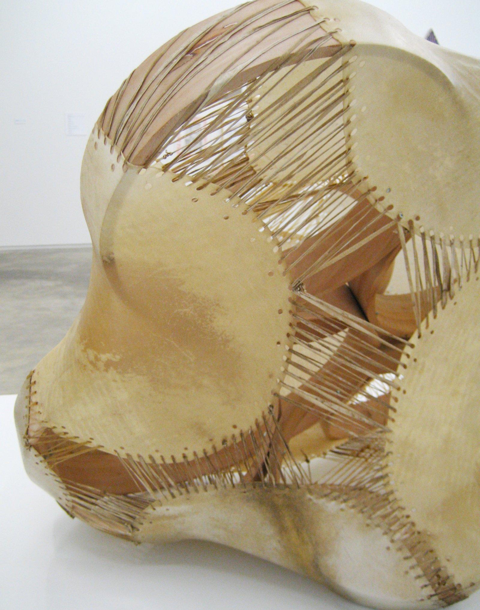 Brian Jungen,Sound Space II(detail), 2010, willow, birch, deer and goat hide, 25 x 34 x 32 in. (64 x 86 x 81 cm)