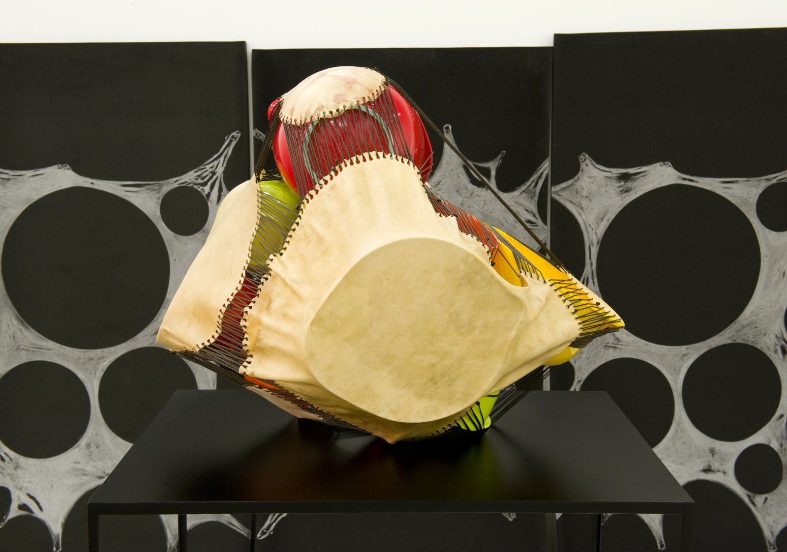 Brian Jungen,Subject, Silver, Prism(detail), 2011,foam, silver relief ink, plastic bowls, deer hide, tarred twine, steel, 78 x 120 x 300 in. (198 x 305 x 762 cm)