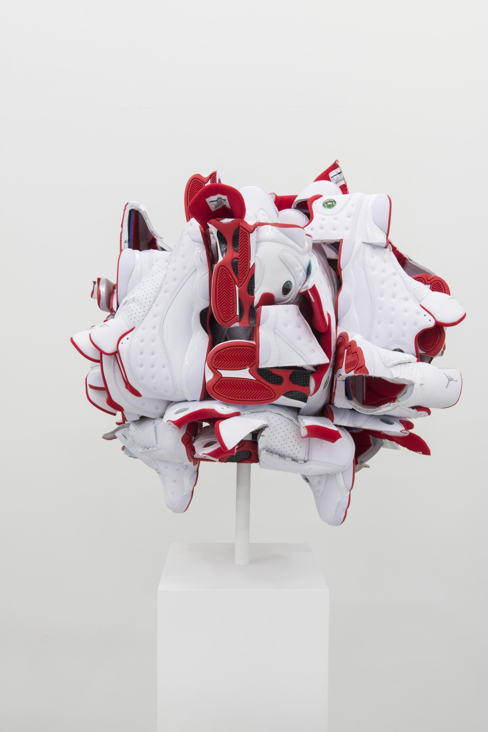 Brian Jungen, Supersize the Light in All Directions 2, 2018, nike air jordans, 29 x 29 x 29 in. (74 x 74 x 74 cm)