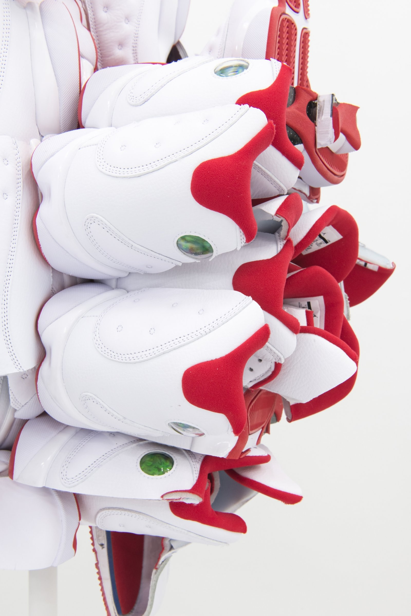 Brian Jungen, Supersize the Light in All Directions 2 (detail), 2018, nike air jordans, 29 x 29 x 29 in. (74 x 74 x 74 cm)