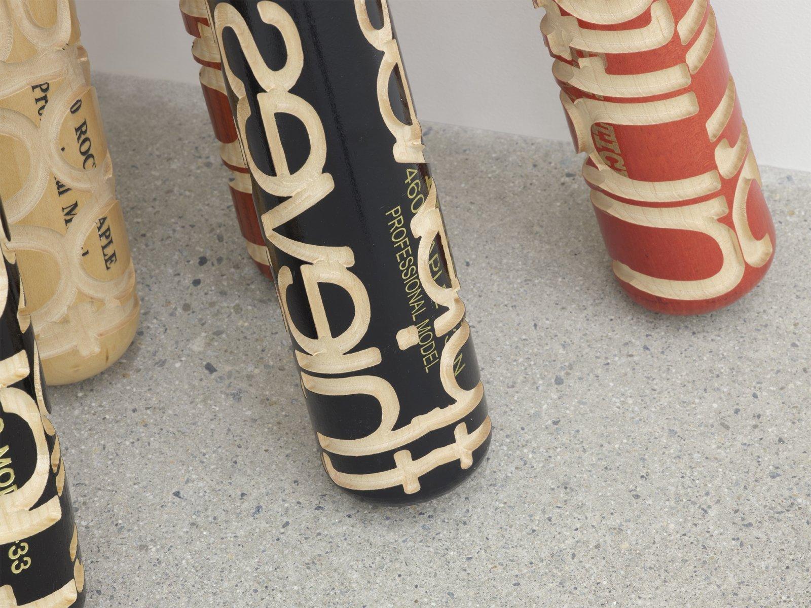 Brian Jungen, Talking Sticks (detail), 2005, carved baseball bats, each 33 x 3 x 3 in. (83 x 8 x 8 cm)