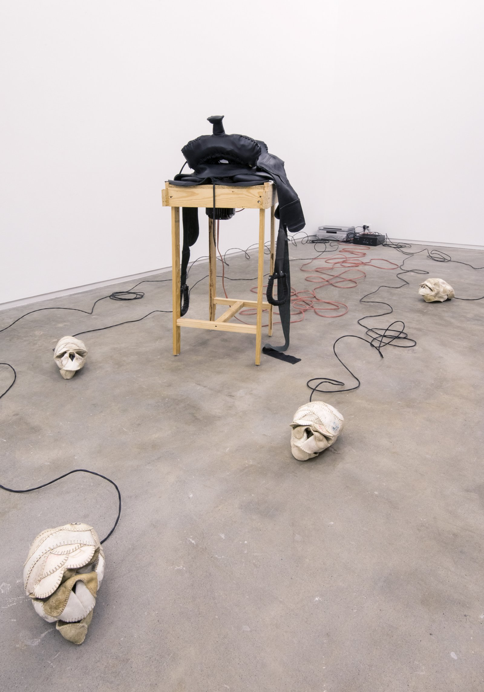 Brian Jungen,The Evening Redness in the West (detail),2006,baseballs, softballs, leather furniture, home theatre system and DVDs, dimensions variable
