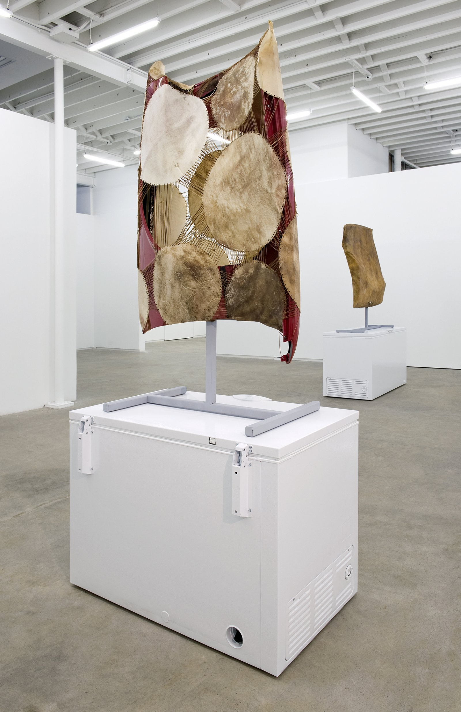 Brian Jungen, The Men of My Family, 2010, moose and deer hide, car fenders, chest freezer, steel 106 x 48 x 30 in. (269 x 122 x 76 cm) by Brian Jungen