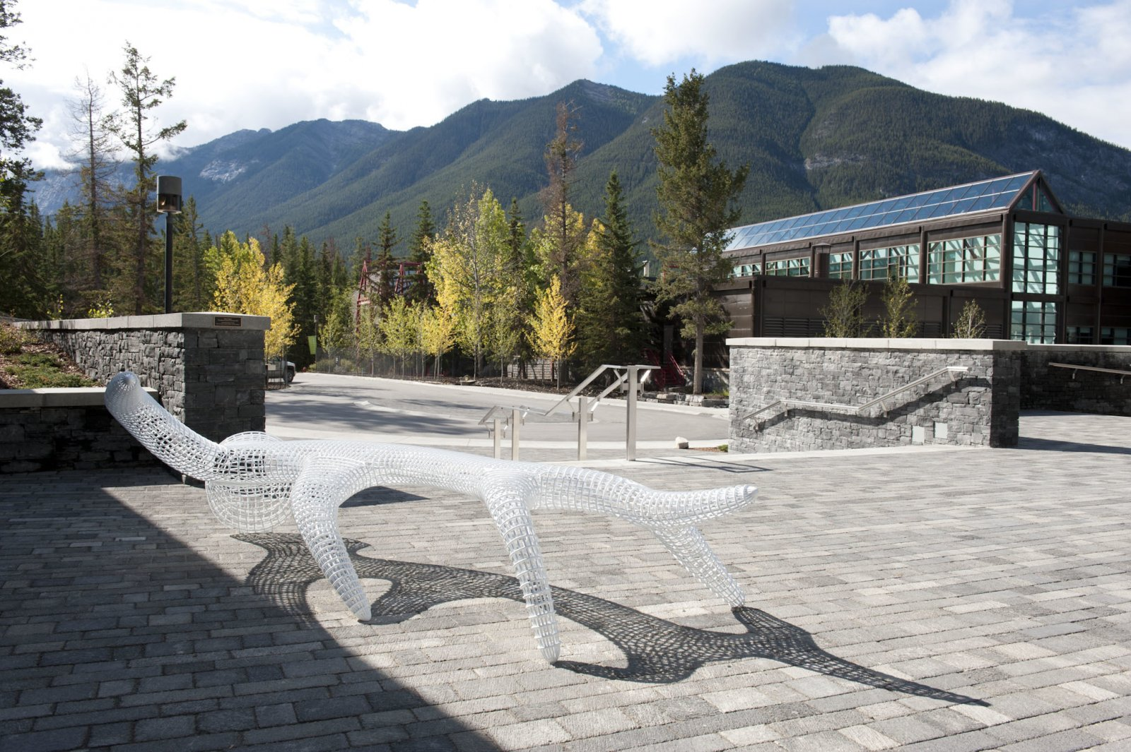 BrianJungen,The ghosts on top ofmy head, 2010–2011, painted stainless steel, dimensions variable.Installation view, The Banff Centre, Banff, AB