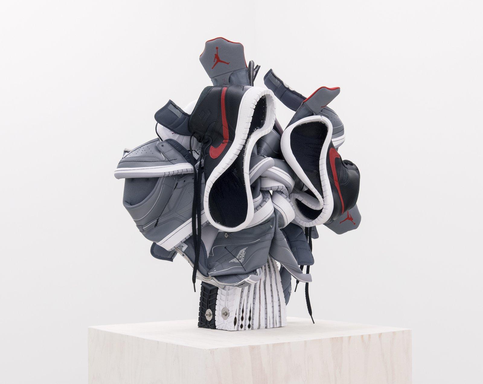 Brian Jungen, This Nameless Fear (detail), 2015–2016, nike air jordans, painted fir plywood, stainless steel, 58 x 20 x 23 in. (147 x 50 x 58 cm) by Brian Jungen