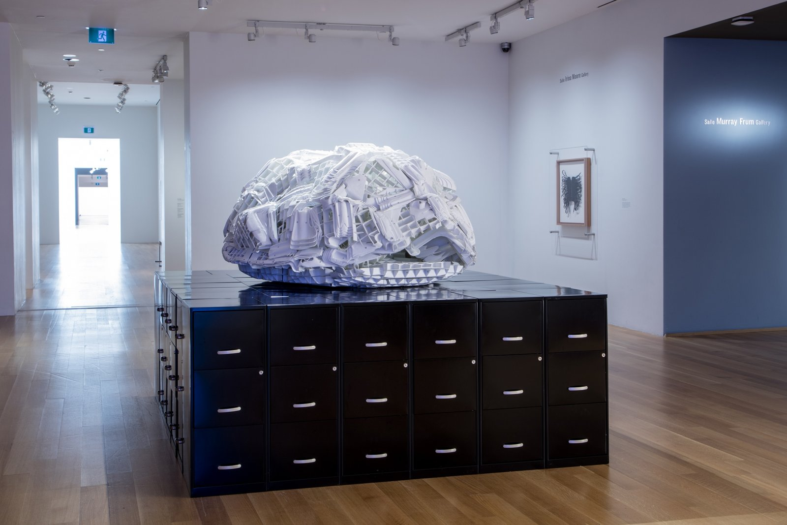 Brian Jungen, Tombstone, 2019, rubbermaid step stools, filing cabinets, 69 x 107 x 86 in. (174 x 272 x 217 cm). Installation view, Friendship Centre, Art Gallery of Ontario, Toronto, Canada, 2019