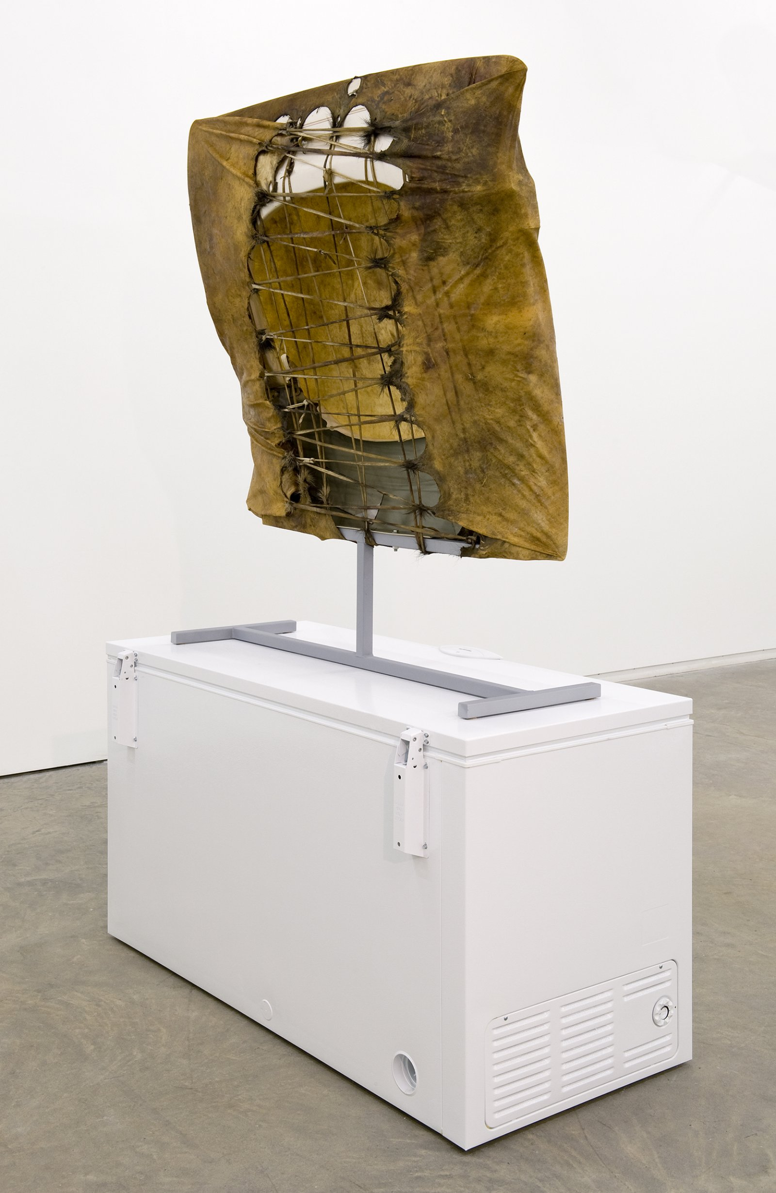 Brian Jungen, Tomorrow, Repeated, 2010, moose hide, car fenders, chest freezer, steel, 96 x 61 x 30 in. (244 x 156 x 75 cm) by Brian Jungen