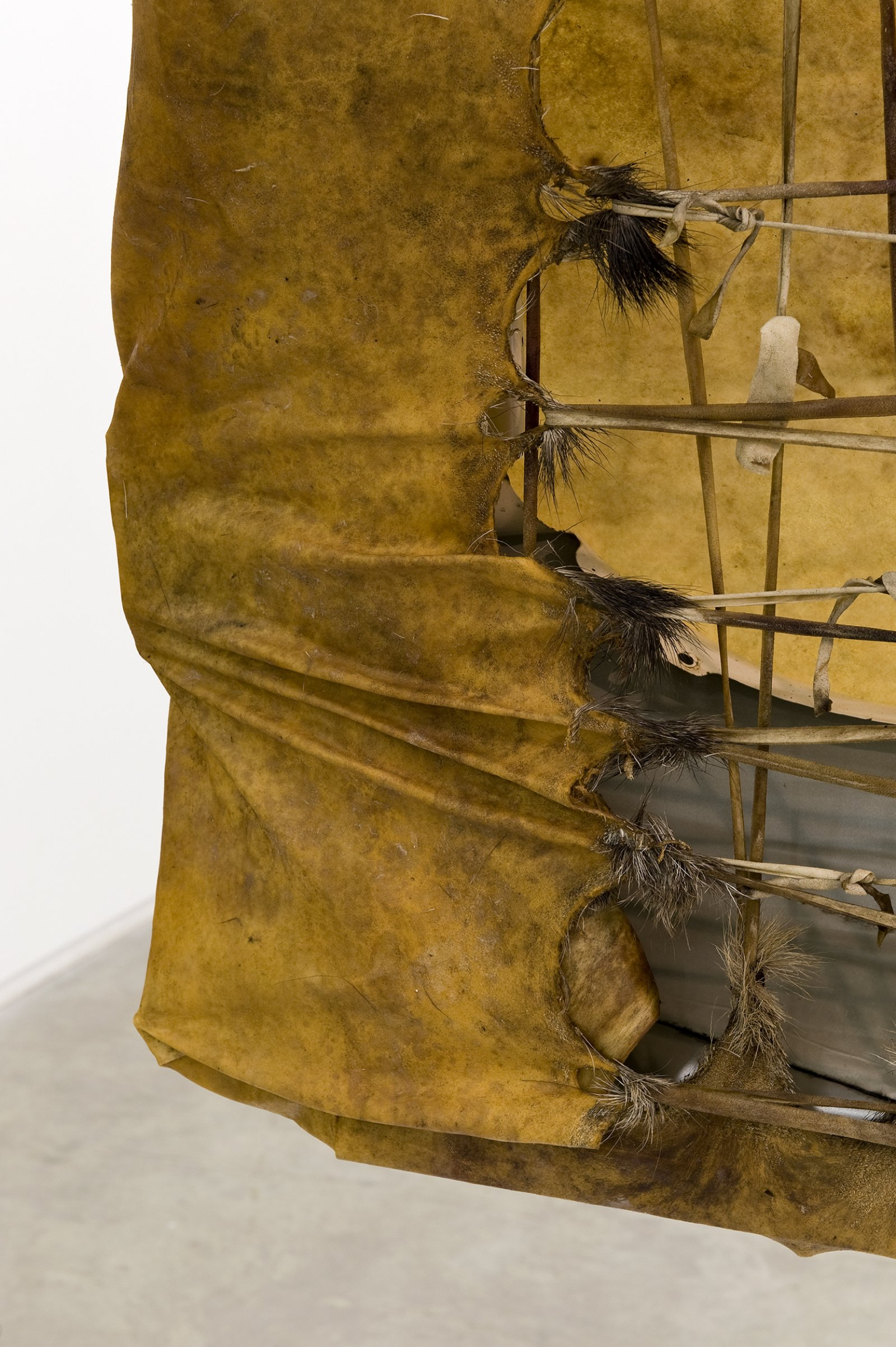 Brian Jungen, Tomorrow, Repeated (detail), 2010, moose hide, car fenders, chest freezer, steel, 96 x 61 x 30 in. (244 x 156 x 75 cm) by Brian Jungen