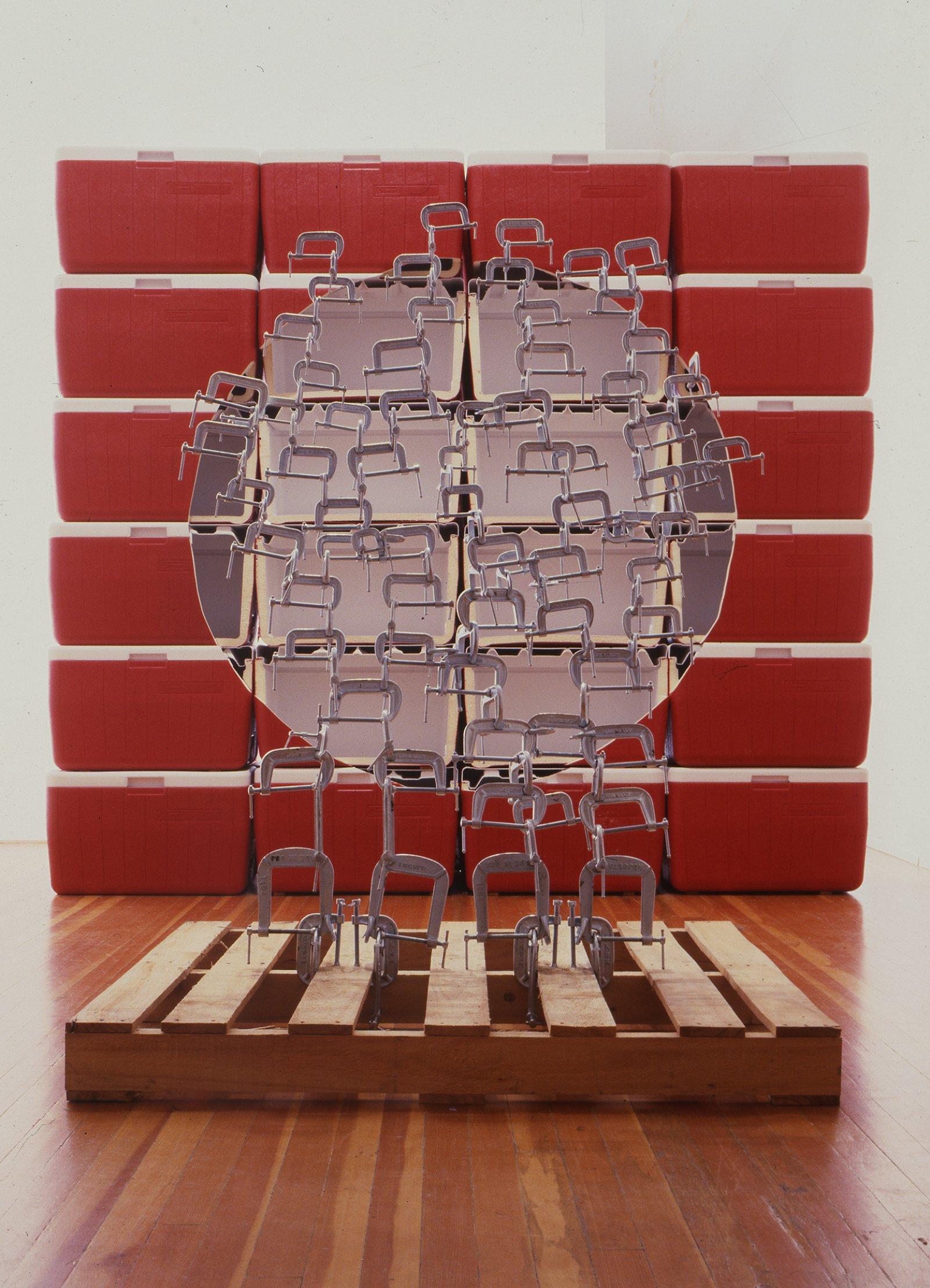 Brian Jungen,Void, 2002, coleman coolers, wooden palette, metal clamps, light, 87 x 96 x 27 in. (221 x 244 x 69 cm)