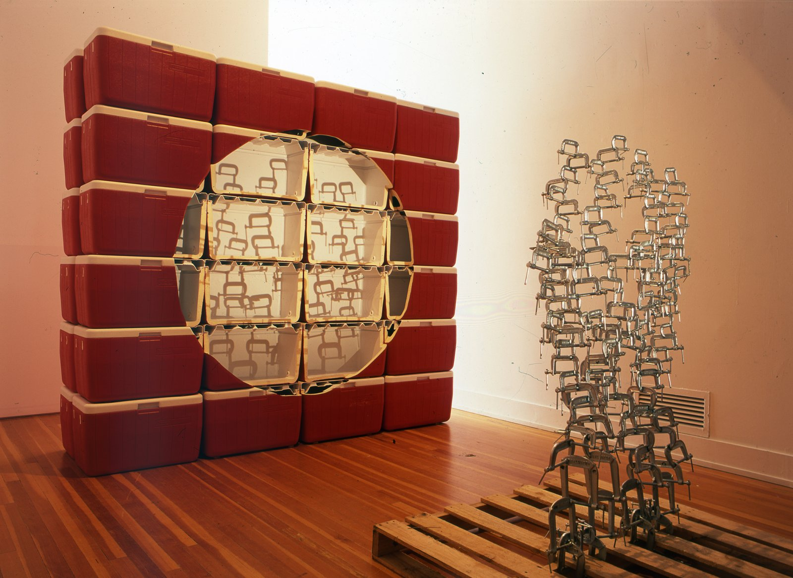 Brian Jungen,Void, 2002,coleman coolers, wooden palette, metal clamps, light,87 x 96 x 27 in. (221 x 244 x 69 cm)