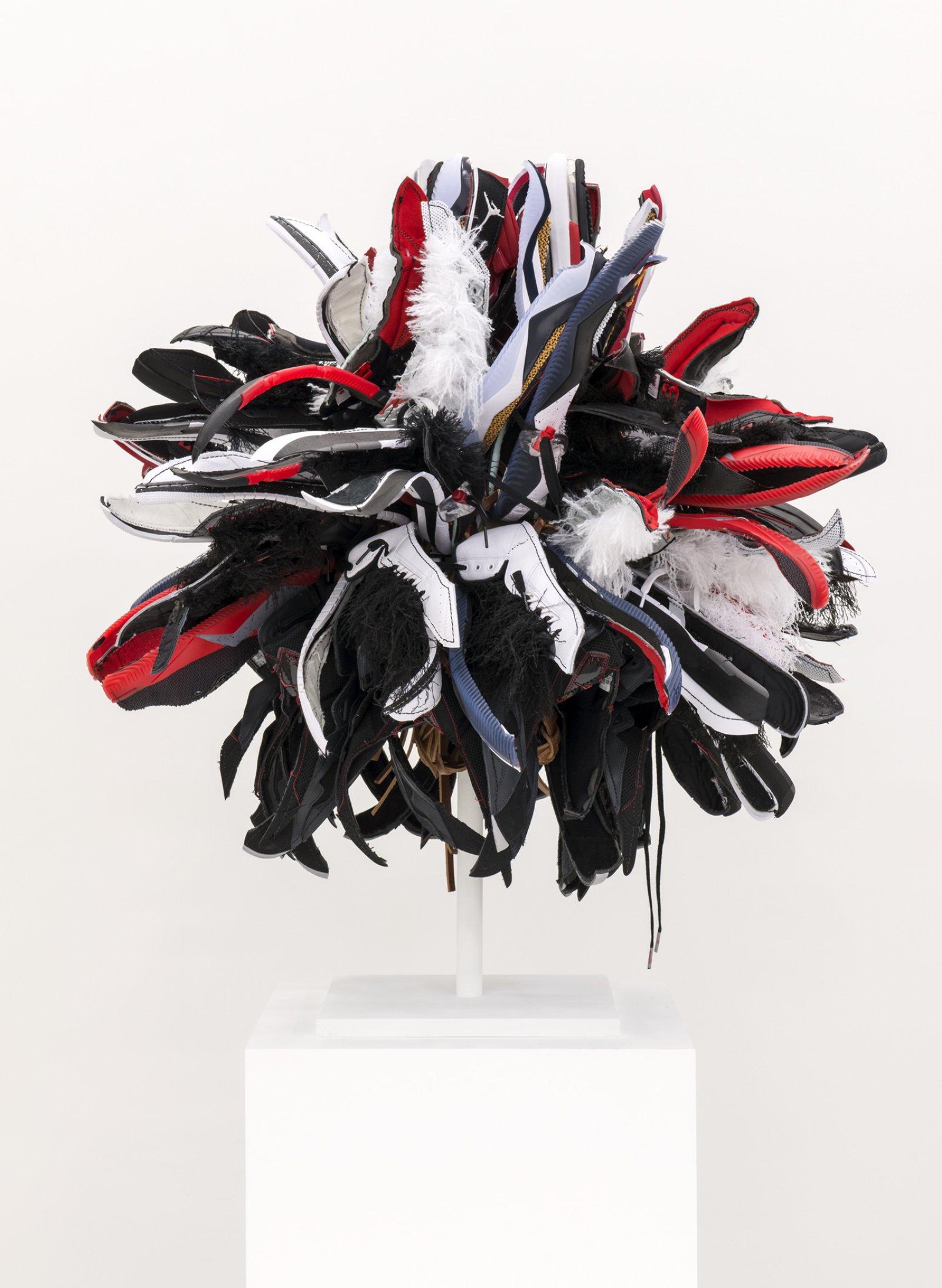 Brian Jungen,Warrior 3, 2018, nike air jordans, leather, copper, 33 x 30 x 32 in. (84 x 76 x 81 cm)