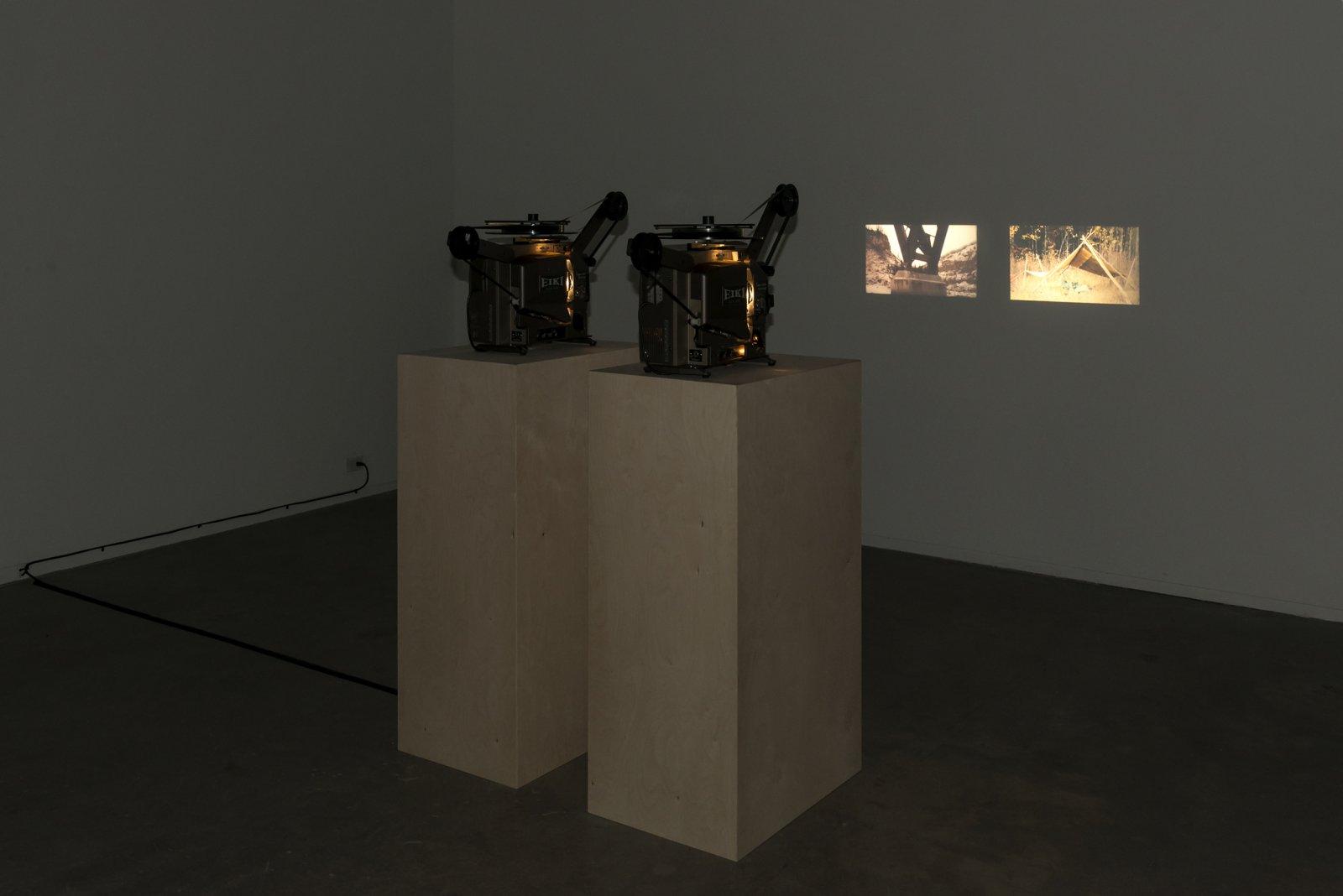 Brian Jungen and Duane Linklater, Lean, 2012, super 16mm film loop on projector, 10 minutes