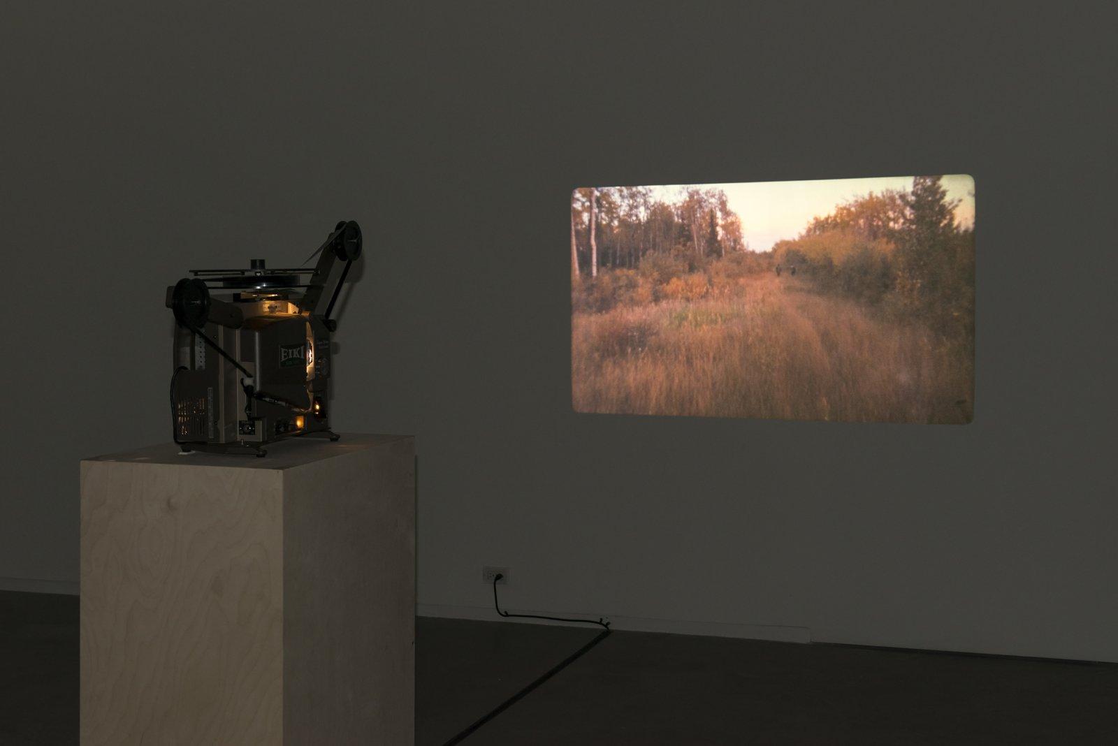 Brian Jungen and Duane Linklater,Stalker, 2013, super 16mm film loop on projector, 2 minutes, 54 seconds