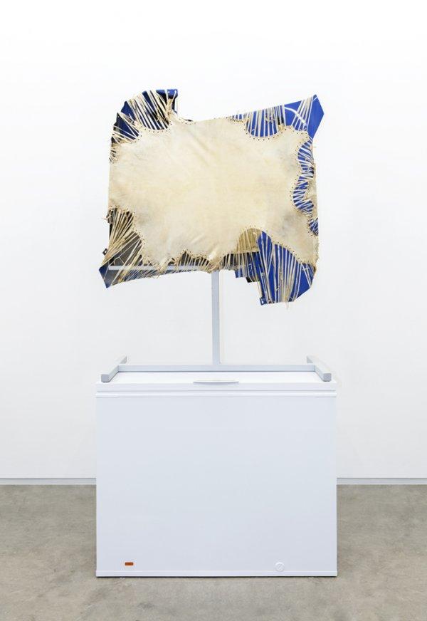 Brian Jungen, Mother Tongue, 2013, steel, deer hide, vw fenders, freezer, 100 x 51 x 28 in. (256 x 130 x 71 cm)