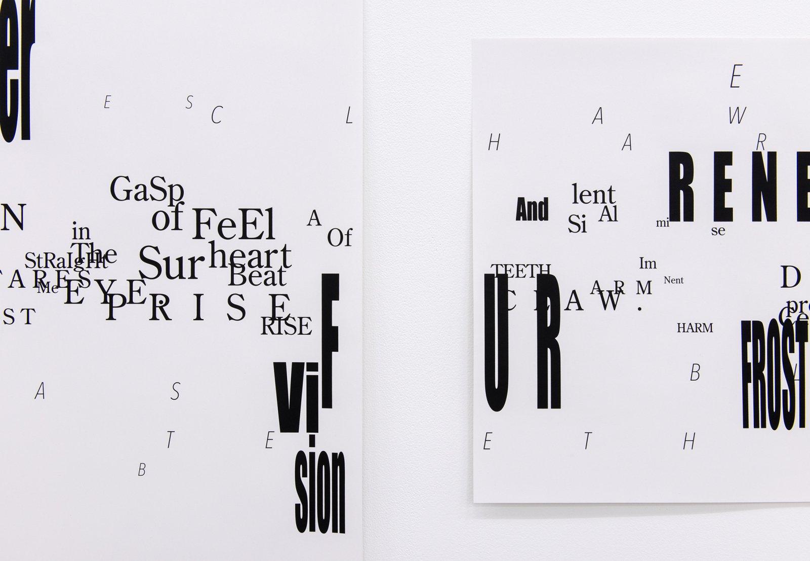 Janice Kerbel, Score, 'Bear' (detail), 2015, 12 silkscreen prints on paper, composition: 33 x 386 in. (84 x 981 cm), each sheet: 22 x 33 in. (56 x 84 cm)  by Janice Kerbel