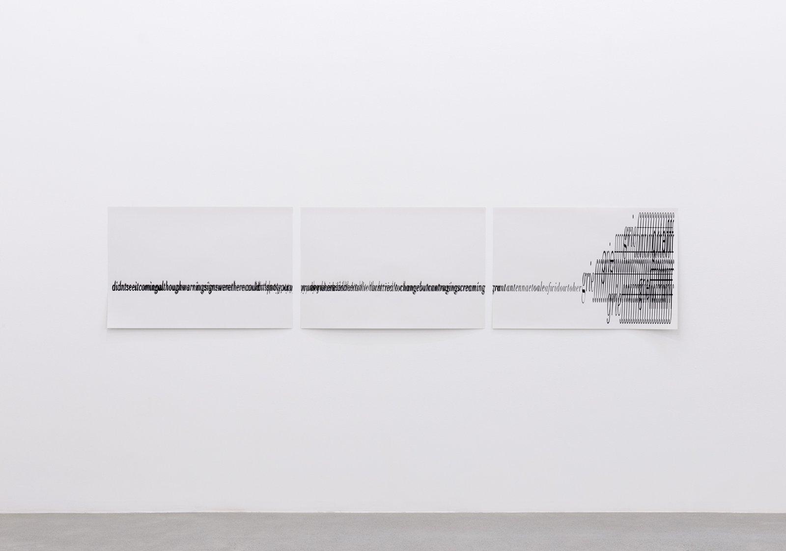 Janice Kerbel, Score, 'Crash', 2015, 3 silkscreen prints on paper, composition: 22 x 131 in. (56 x 334 cm), each sheet: 22 x 33 in. (56 x 84 cm) by Janice Kerbel