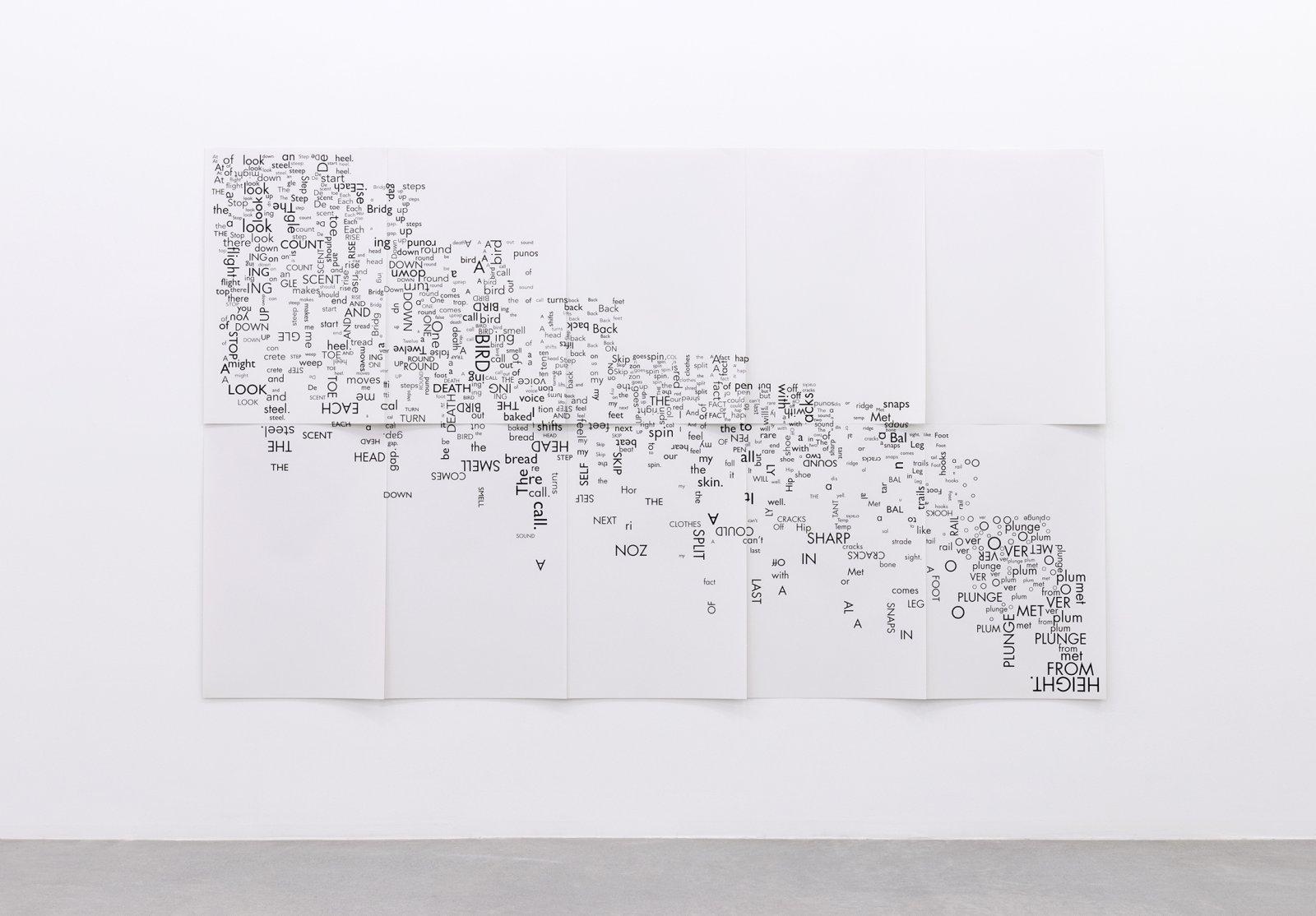 Janice Kerbel, Score, 'Fall', 2015, 10 silkscreen prints on paper, composition: 108 x 66 in. (273 x 167 cm), each sheet: 22 x 33 in. (56 x 84 cm)   by Janice Kerbel