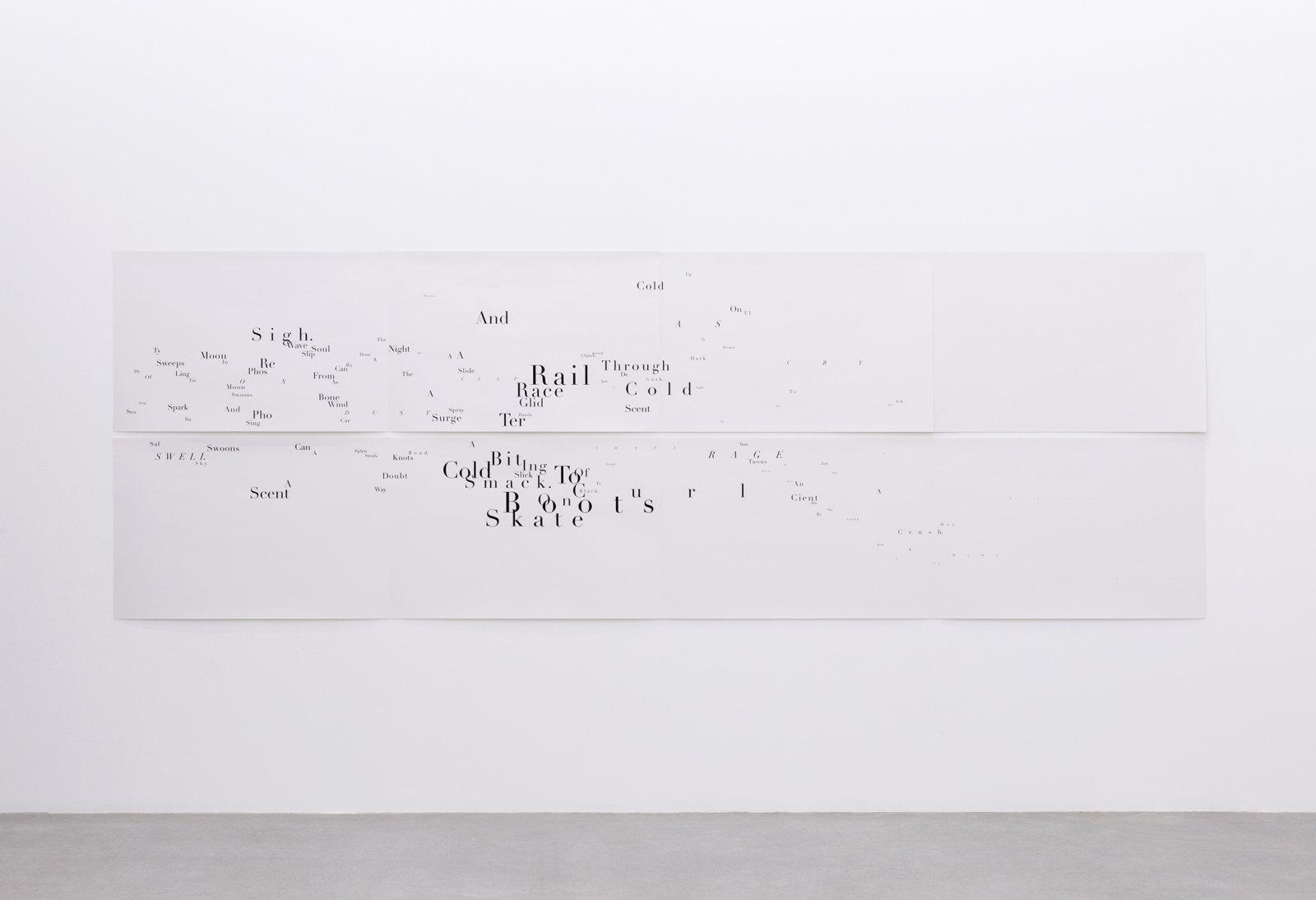 Janice Kerbel, Score, 'Sink', 2015, 8 silkscreen prints on paper, composition: 44 x 131 in. (113 x 334 cm), each sheet: 22 x 33 in. (56 x 84 cm)  by Janice Kerbel