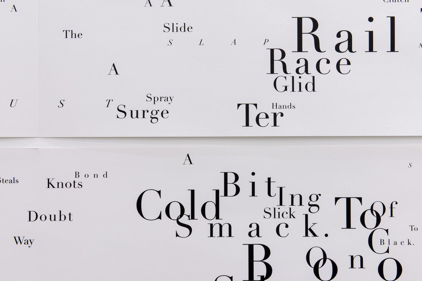 Janice Kerbel, Score, 'Sink' (detail), 2015, 8 silkscreen prints on paper, composition: 44 x 131 in. (113 x 334 cm), each sheet: 22 x 33 in. (56 x 84 cm)  by Janice Kerbel