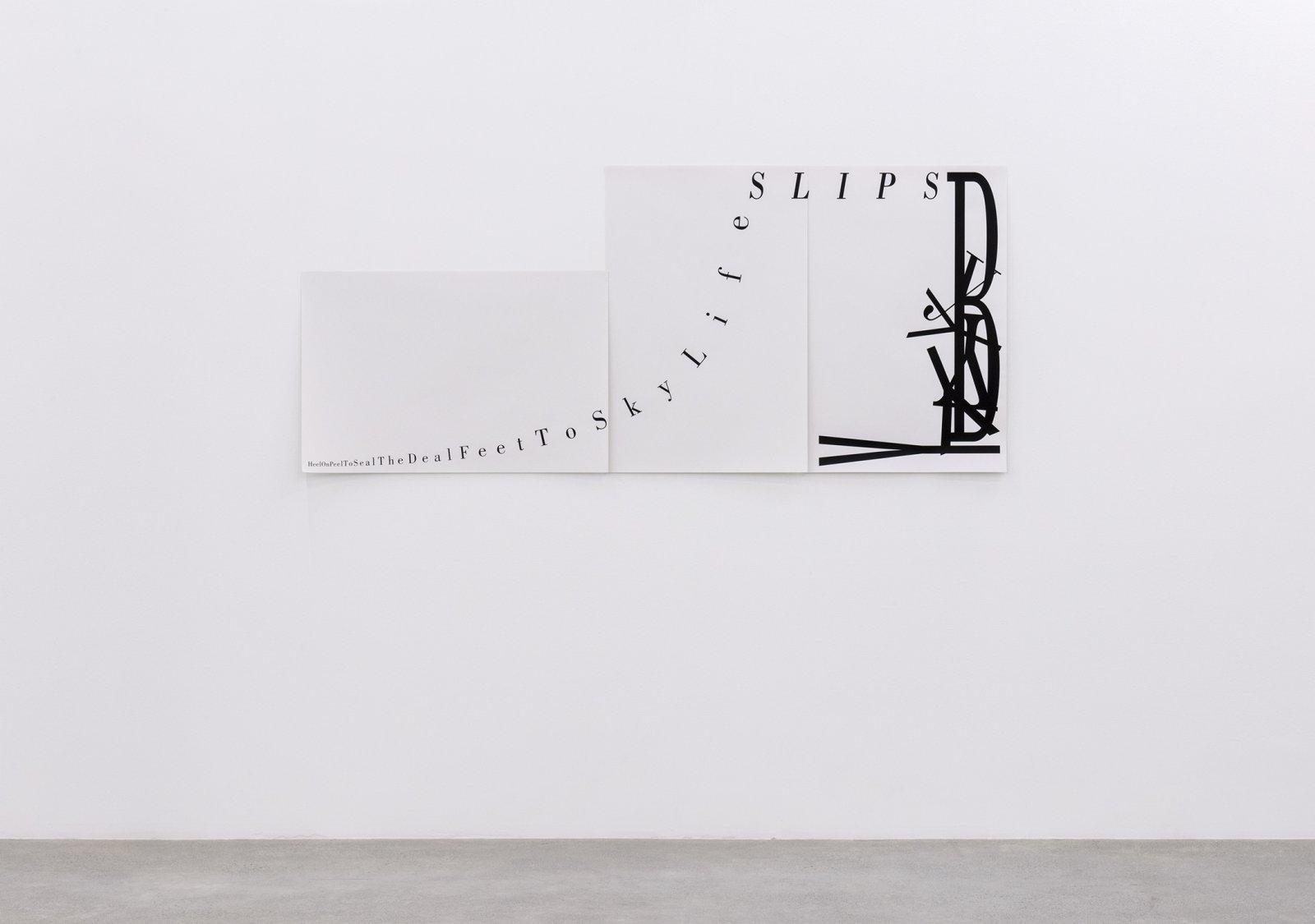 Janice Kerbel, Score, 'Slip', 2015, 3 silkscreen prints on paper, composition: 33 x 76 in. (84 x 193 cm), each sheet: 22 x 33 in. (56 x 84 cm) by Janice Kerbel
