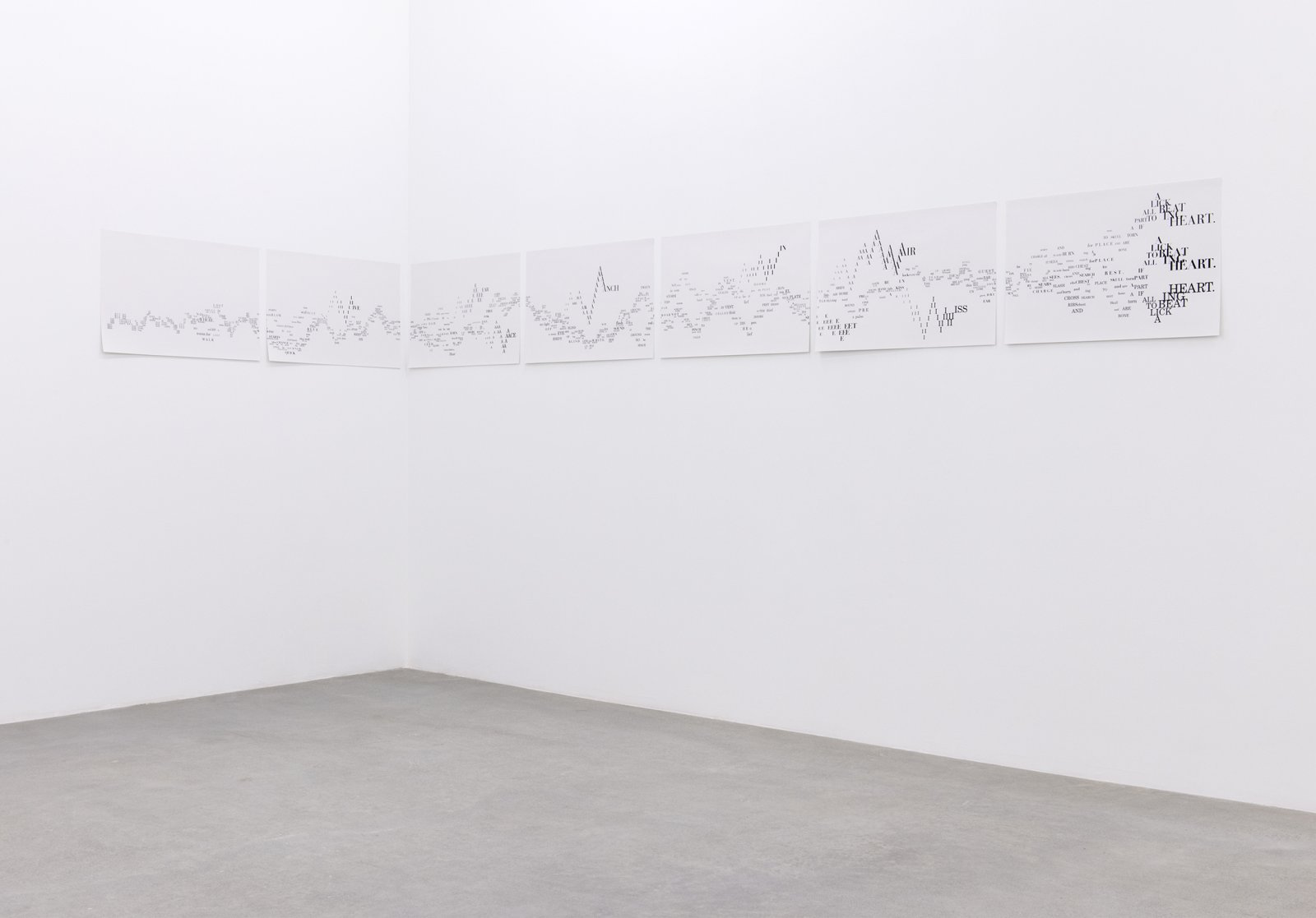 Janice Kerbel, Score, 'Strike', 2015, 7 silkscreen prints on paper, composition: 22 x 242 in. (56 x 616 cm), each sheet: 22 x 33 in. (56 x 84 cm)  by Janice Kerbel