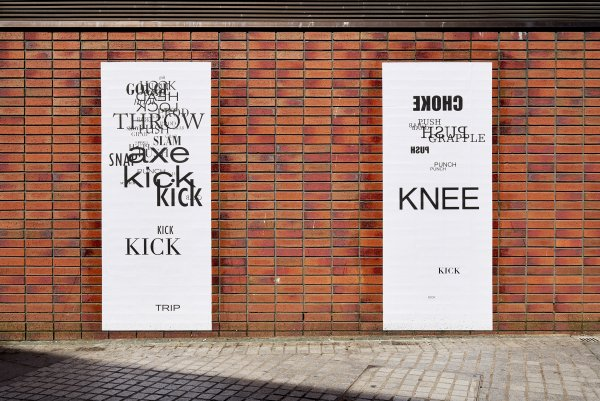 ​Janice Kerbel, Fight, 2018, screenprints on billboard paper, each 83 x 25 in. (210 x 64 cm). Installation view, Beautiful world, where are you?, Blundell Street, Liverpool, 2018
